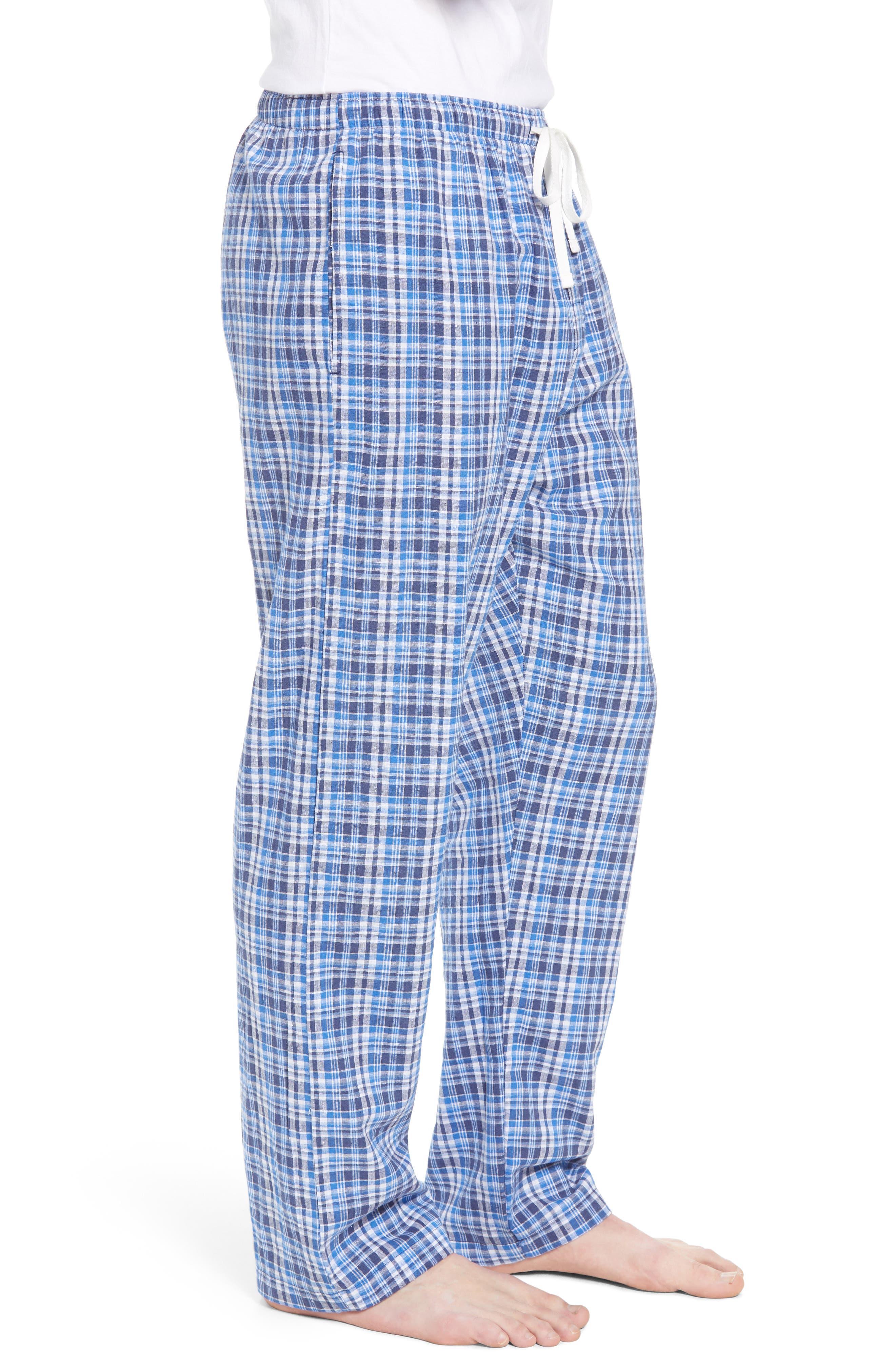 Walker Plaid Cotton & Linen Pajama Pants,                             Alternate thumbnail 3, color,                             Walker Plaid/ Cruise Navy