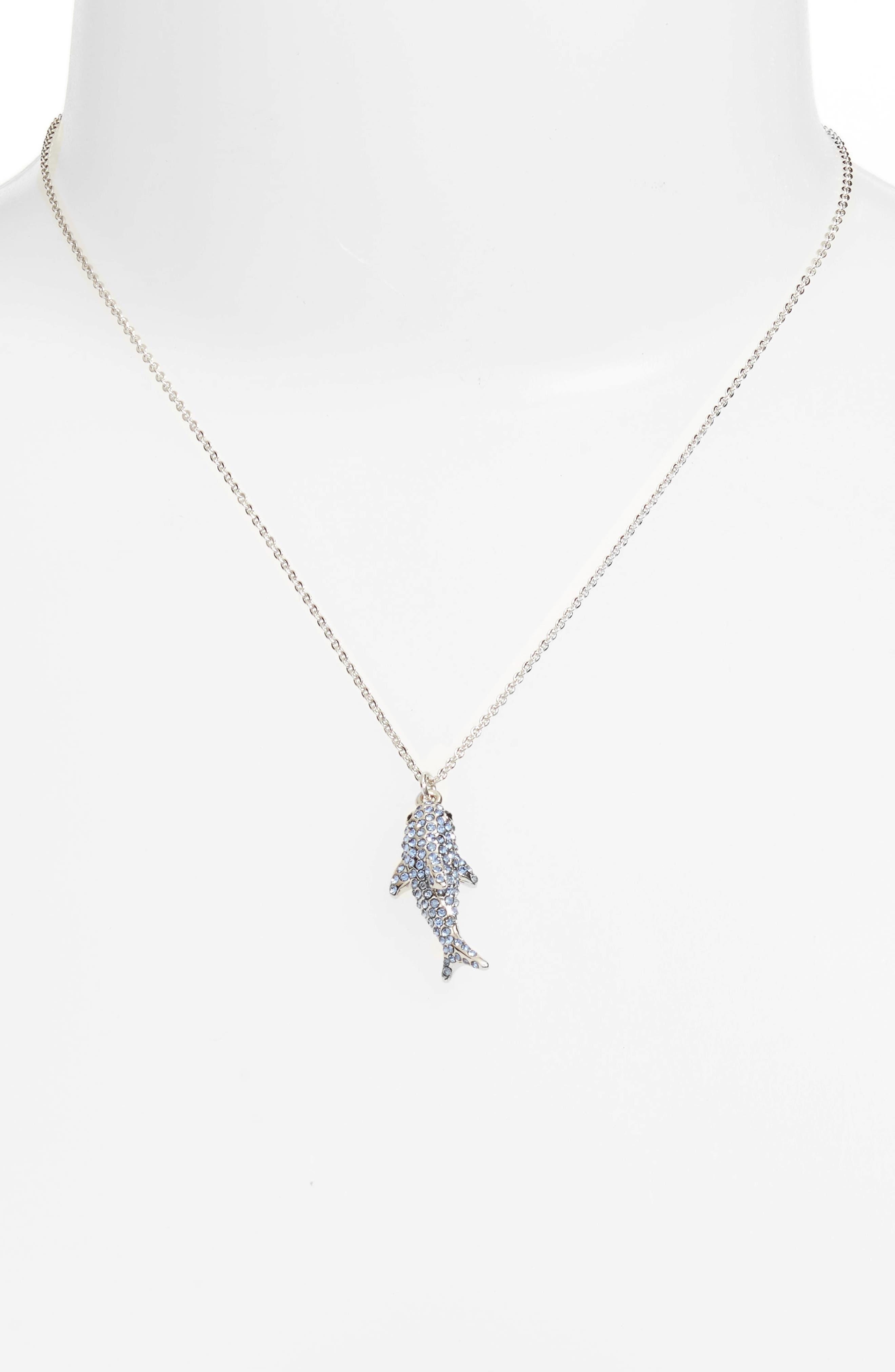california dreaming pavé shark necklace,                             Alternate thumbnail 2, color,                             Blue Multi