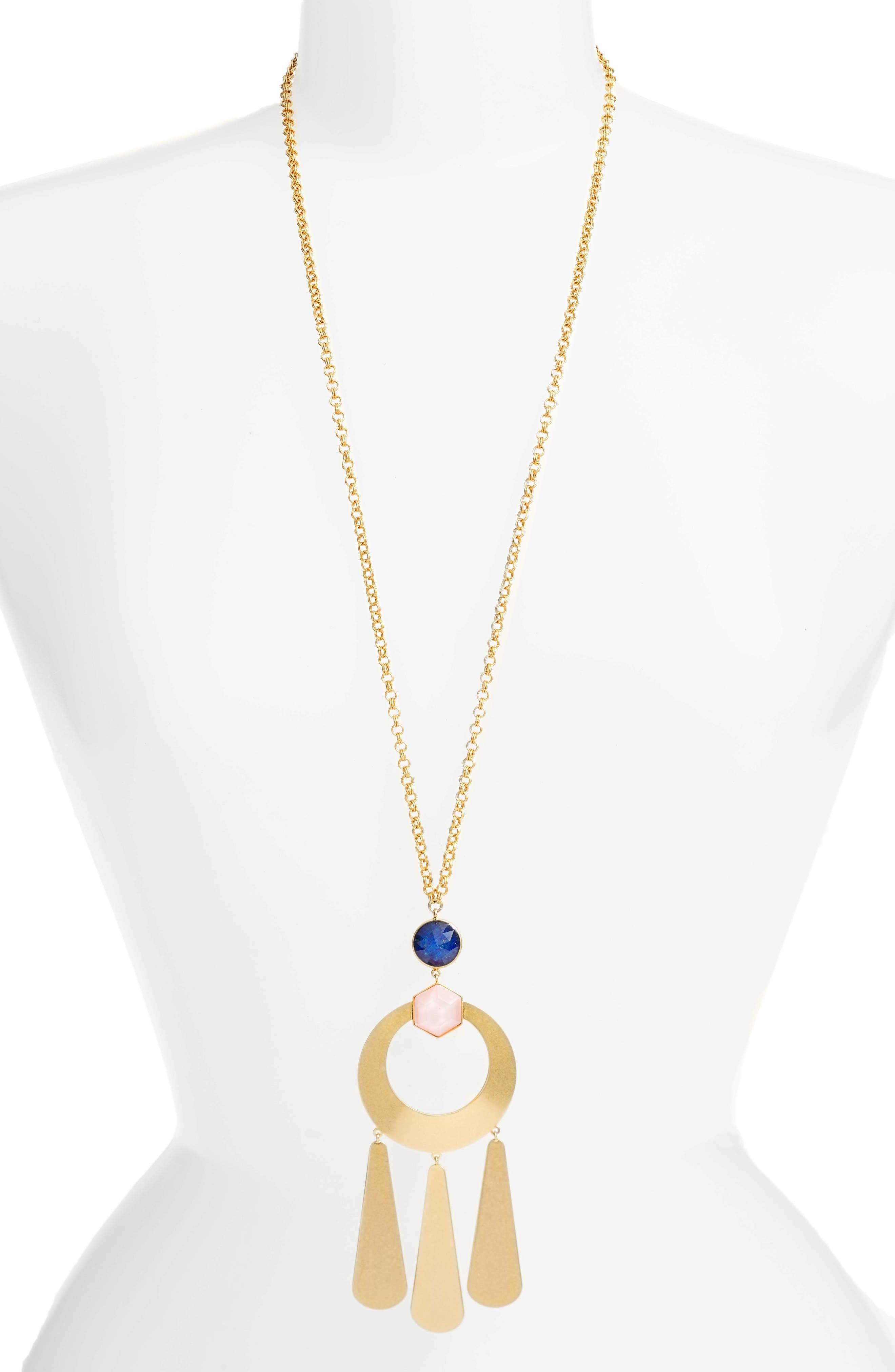kate spade sunshine stones pendant necklace,                         Main,                         color, Gold Multi