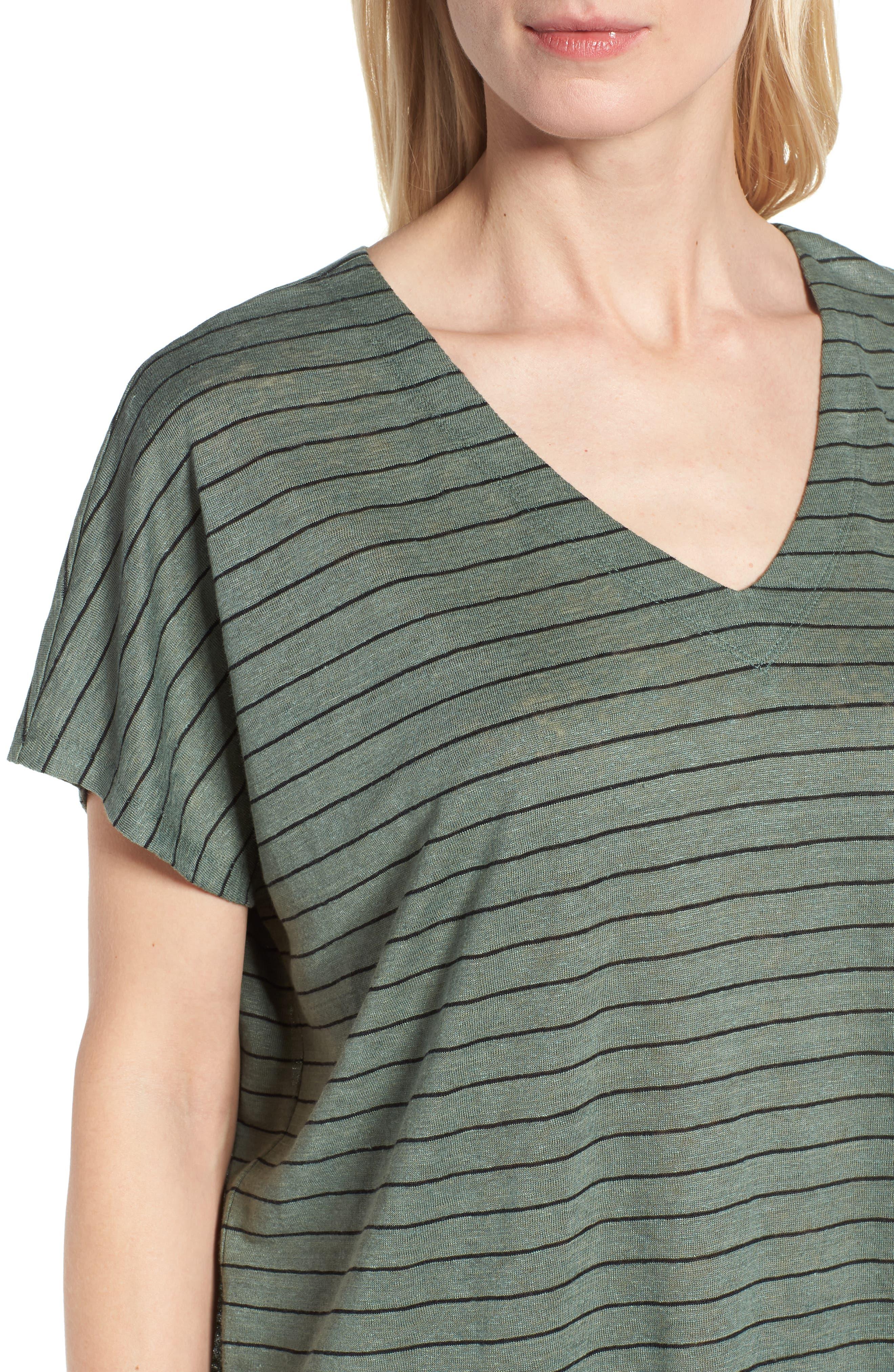 Stripe Organic Linen Shift Dress,                             Alternate thumbnail 4, color,                             Nori