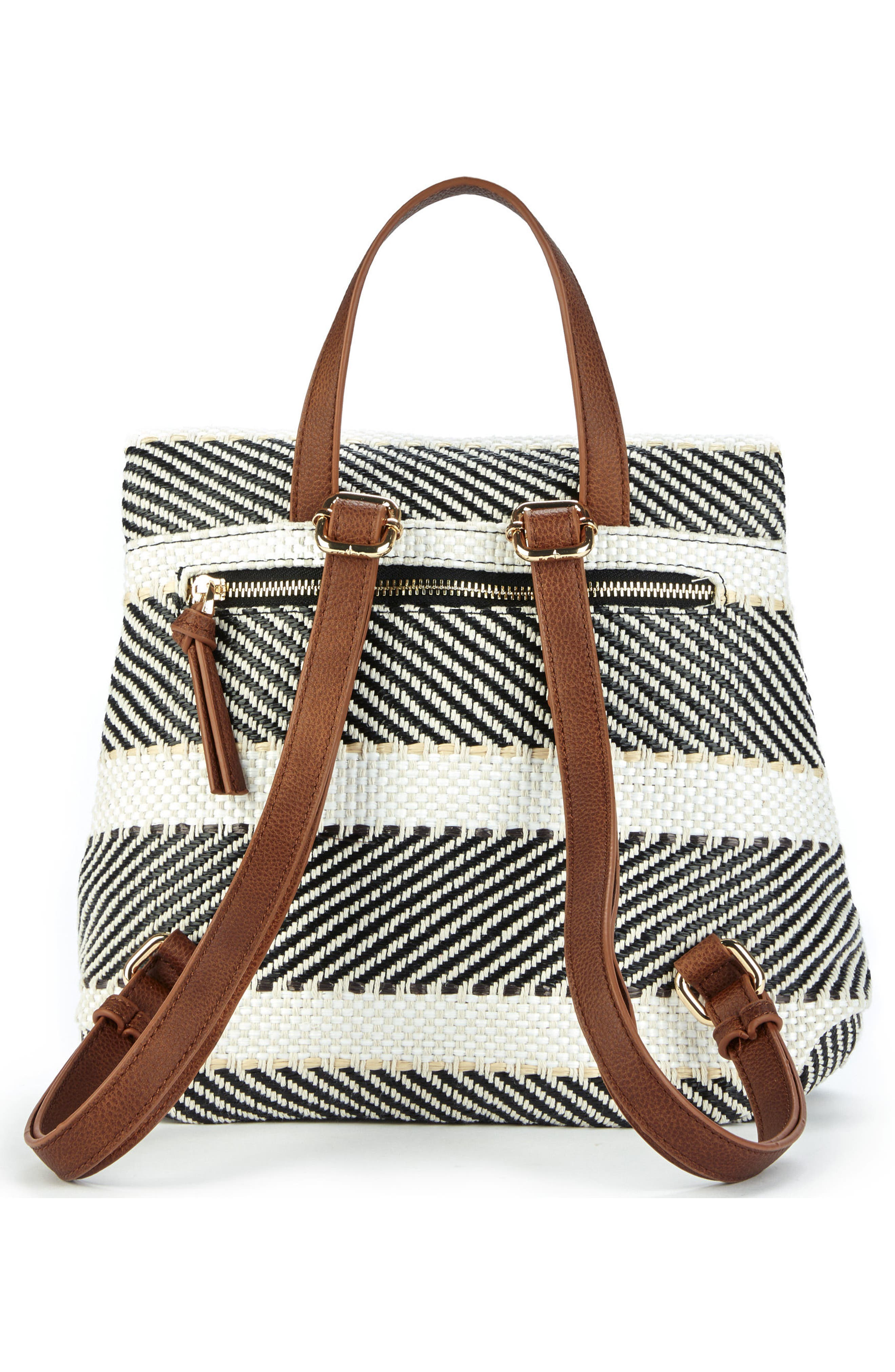 Fabric Backpack,                             Alternate thumbnail 2, color,                             Black/ Cream