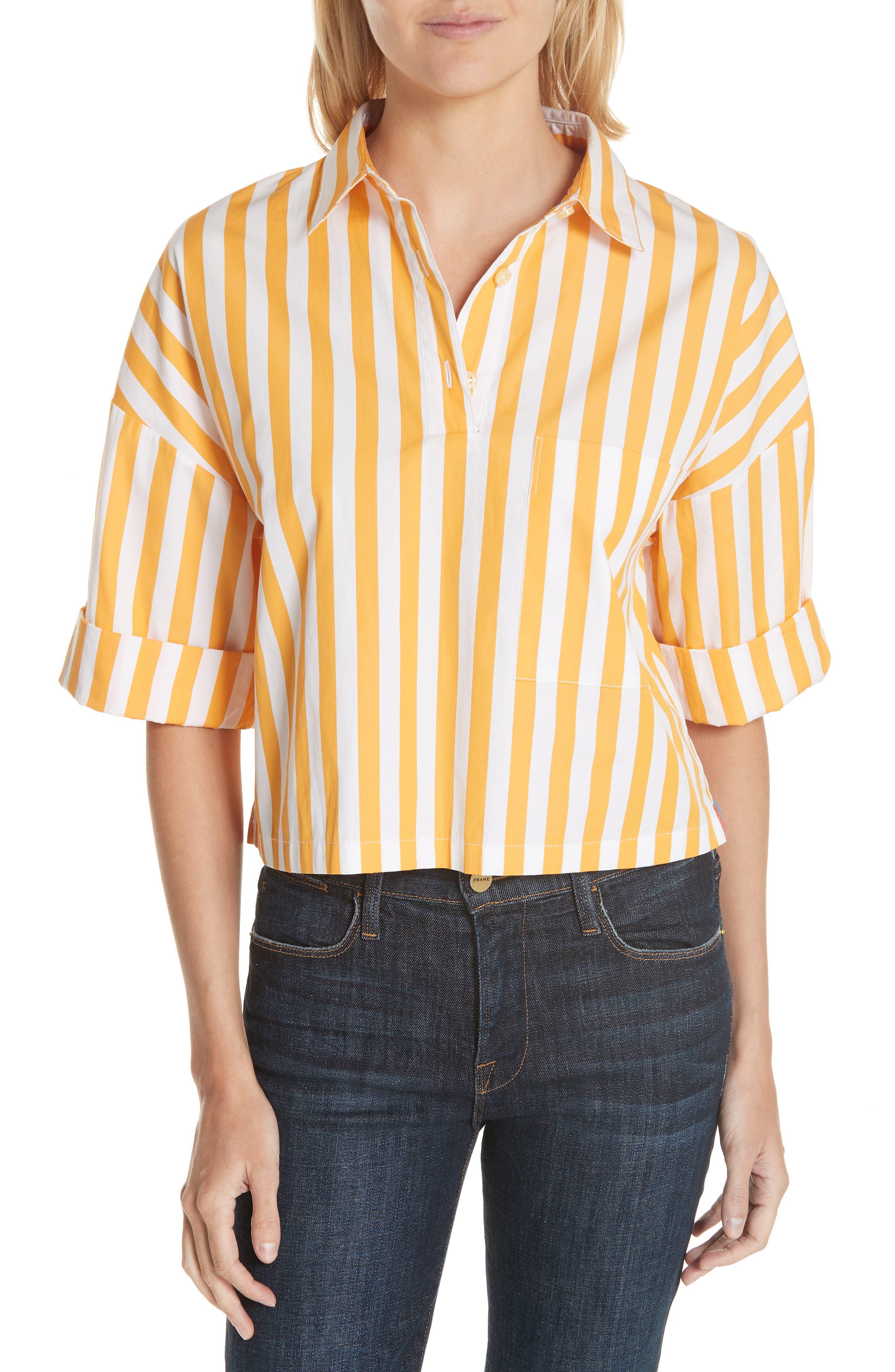 The Keaton Stripe Crop Shirt,                             Main thumbnail 1, color,                             White/ Marigold