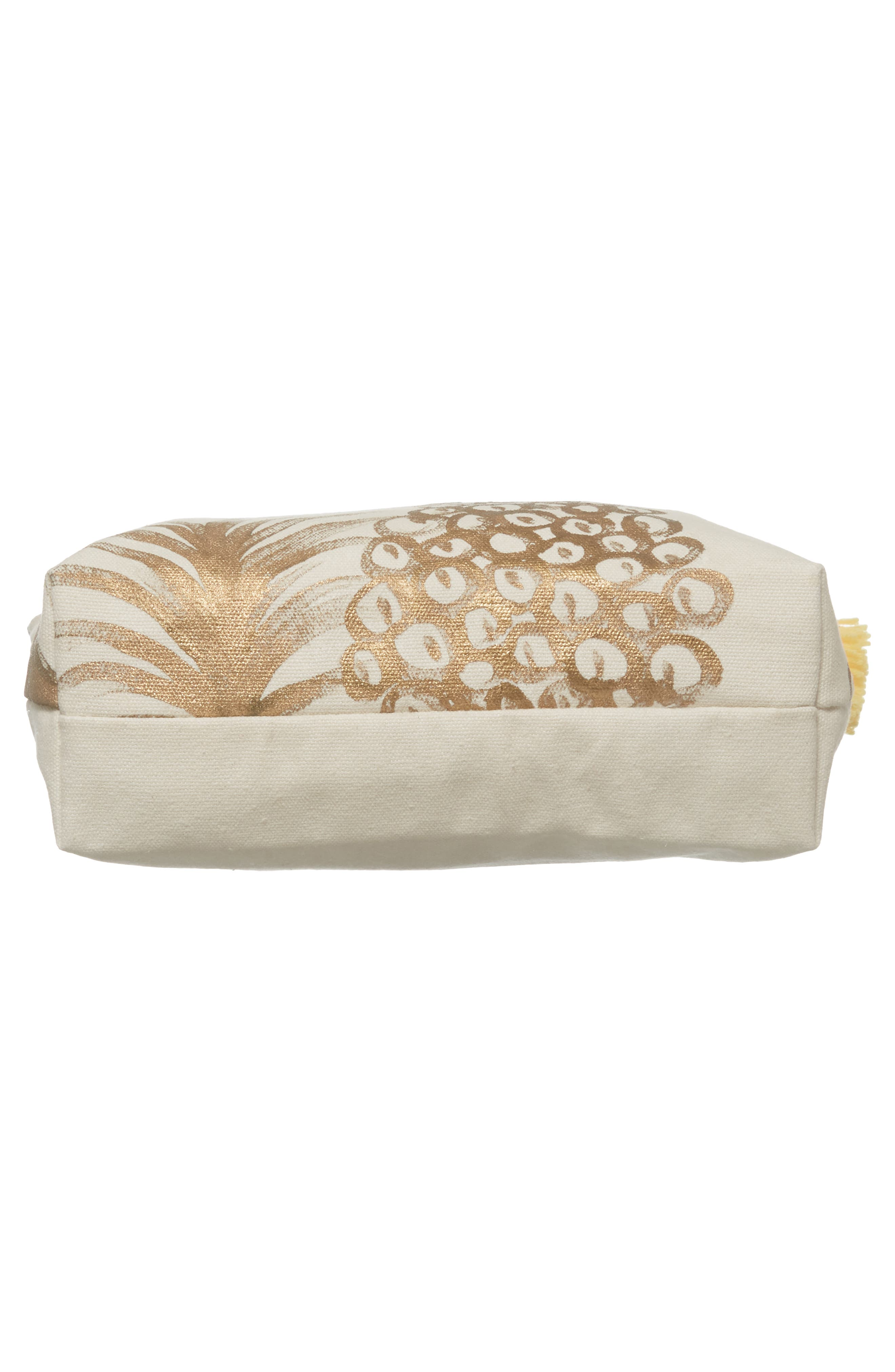 Tropicana Tassel Cosmetic Pouch,                             Alternate thumbnail 5, color,                             Gold