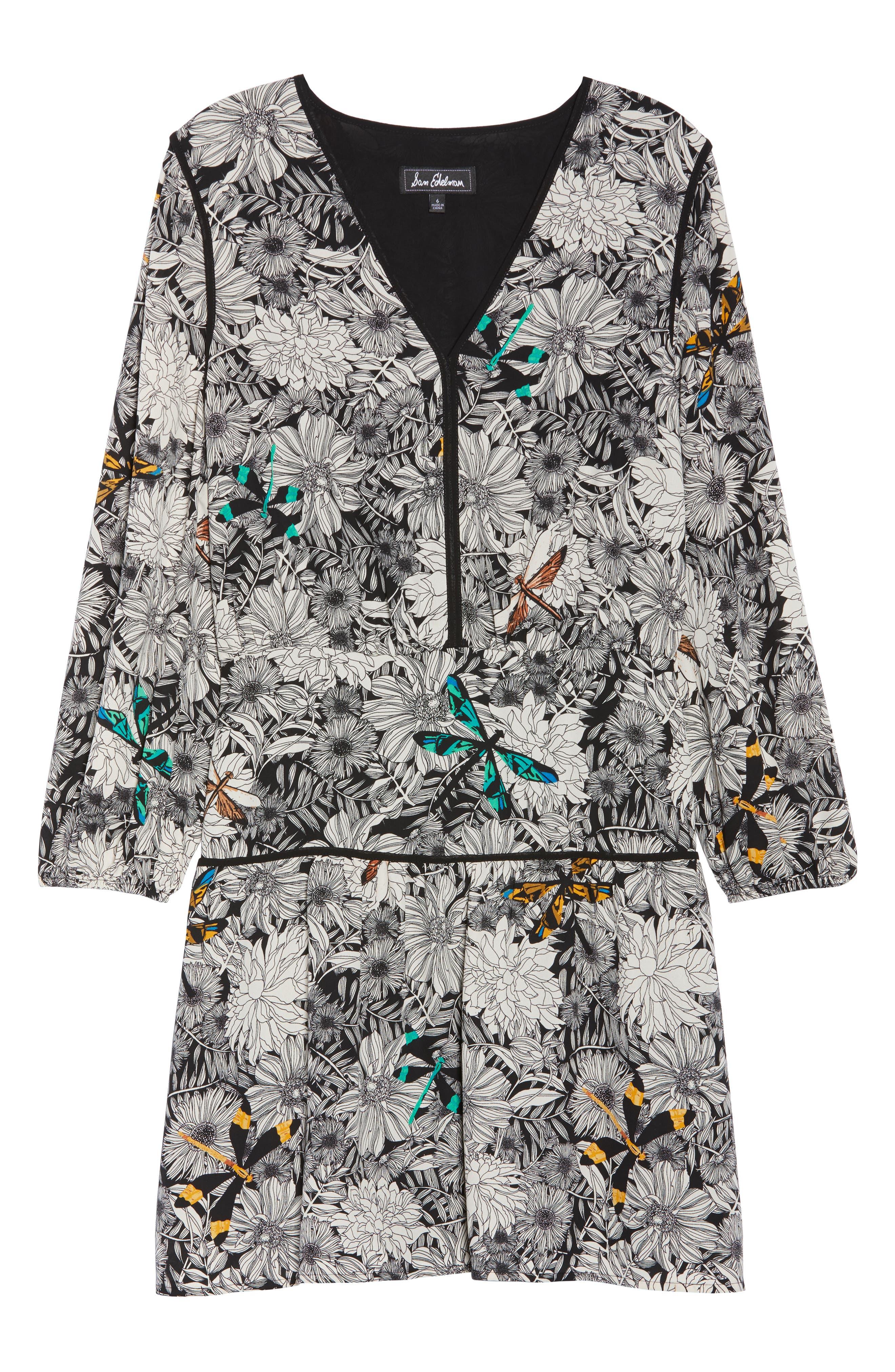 Print Blouson Dress,                             Alternate thumbnail 7, color,                             Black Multi