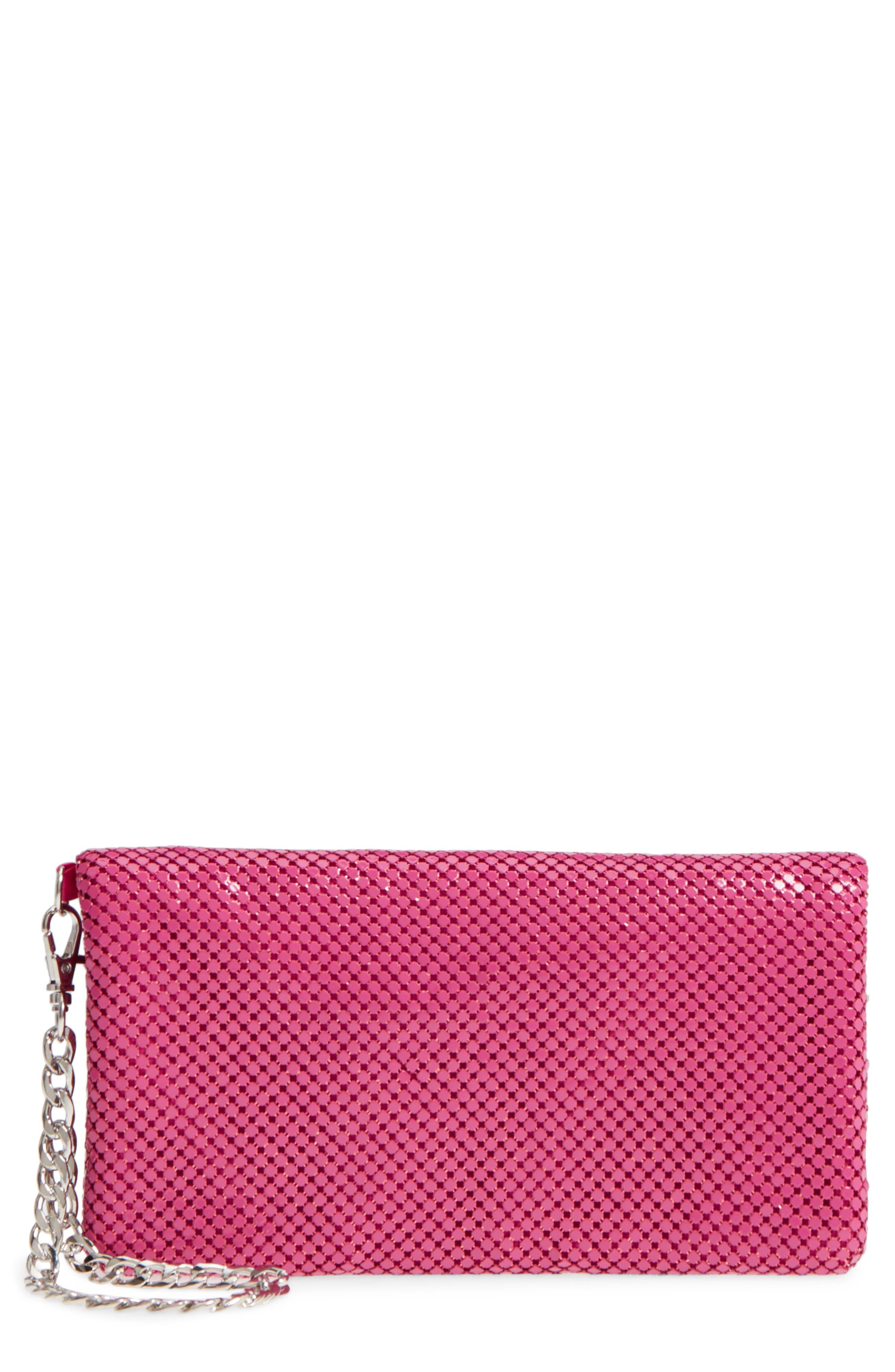 Mesh Wristlet,                         Main,                         color, Pink Fuchsia