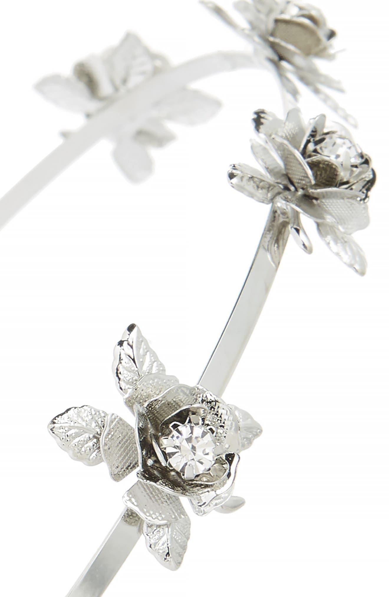 Crystal Flower Headband,                             Alternate thumbnail 2, color,                             Silver