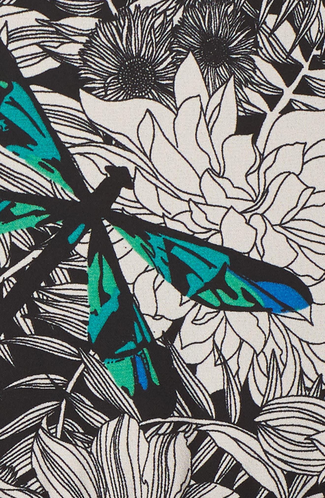 Print Blouson Dress,                             Alternate thumbnail 6, color,                             Black Multi