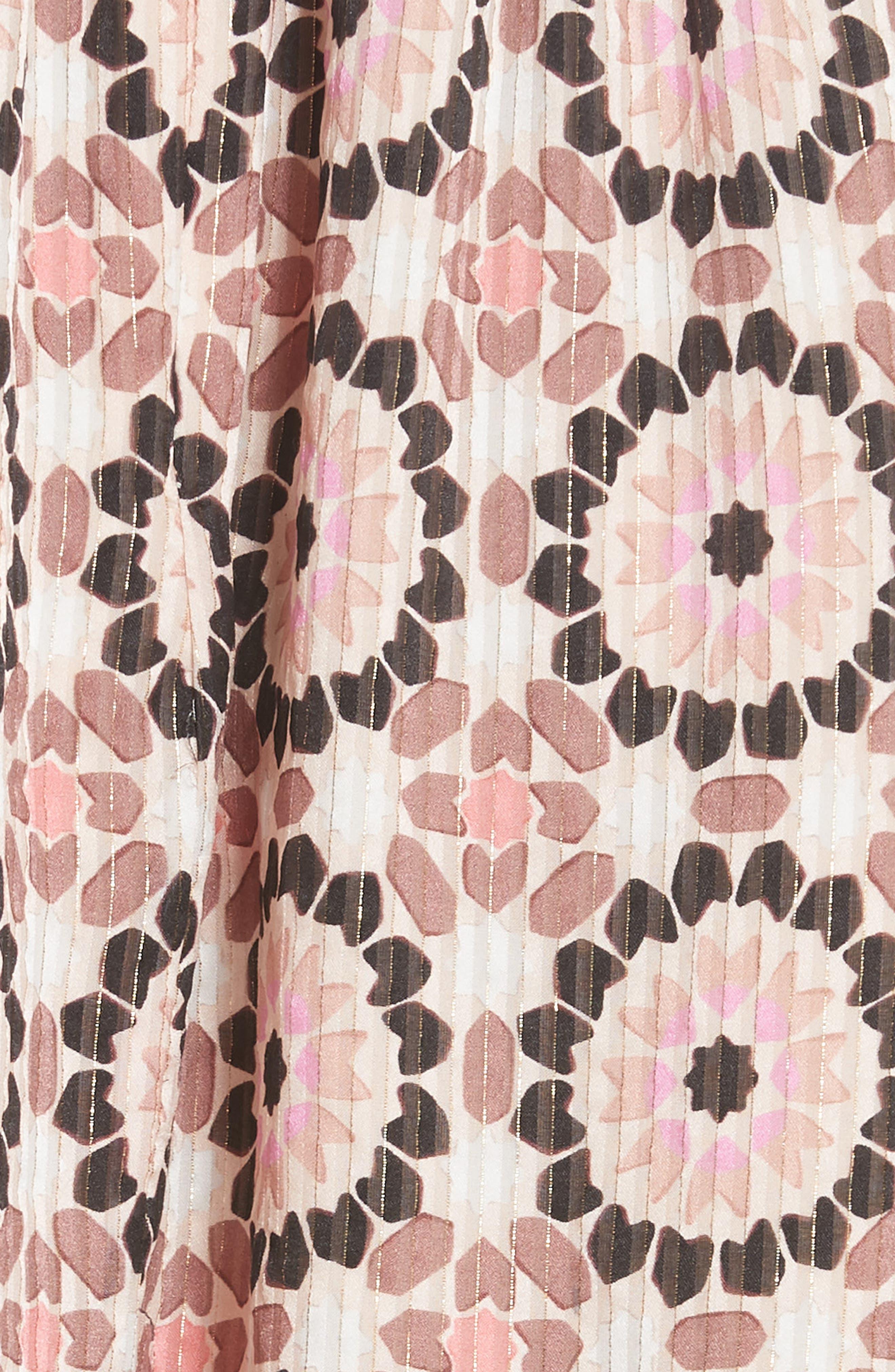 floral mosaic flutter dress,                             Alternate thumbnail 5, color,                             Pearl Pink Multi