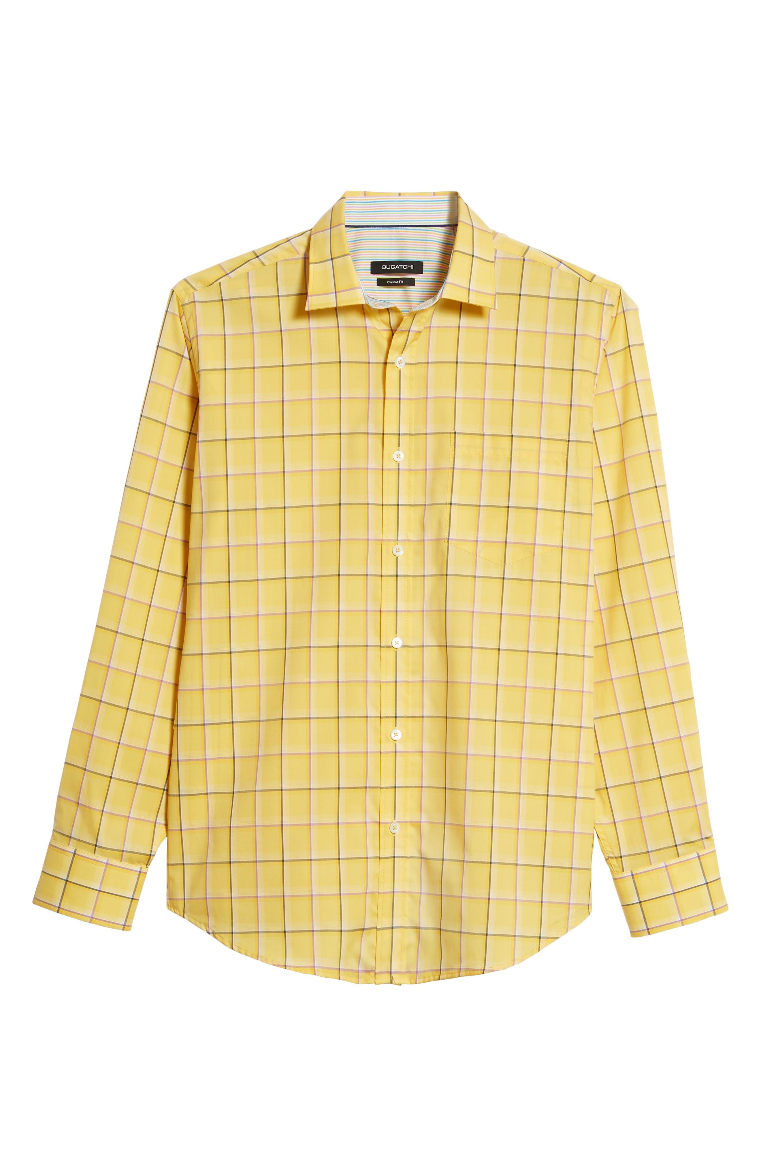 Classic Fit Check Sport Shirt,                             Alternate thumbnail 6, color,                             Lemon
