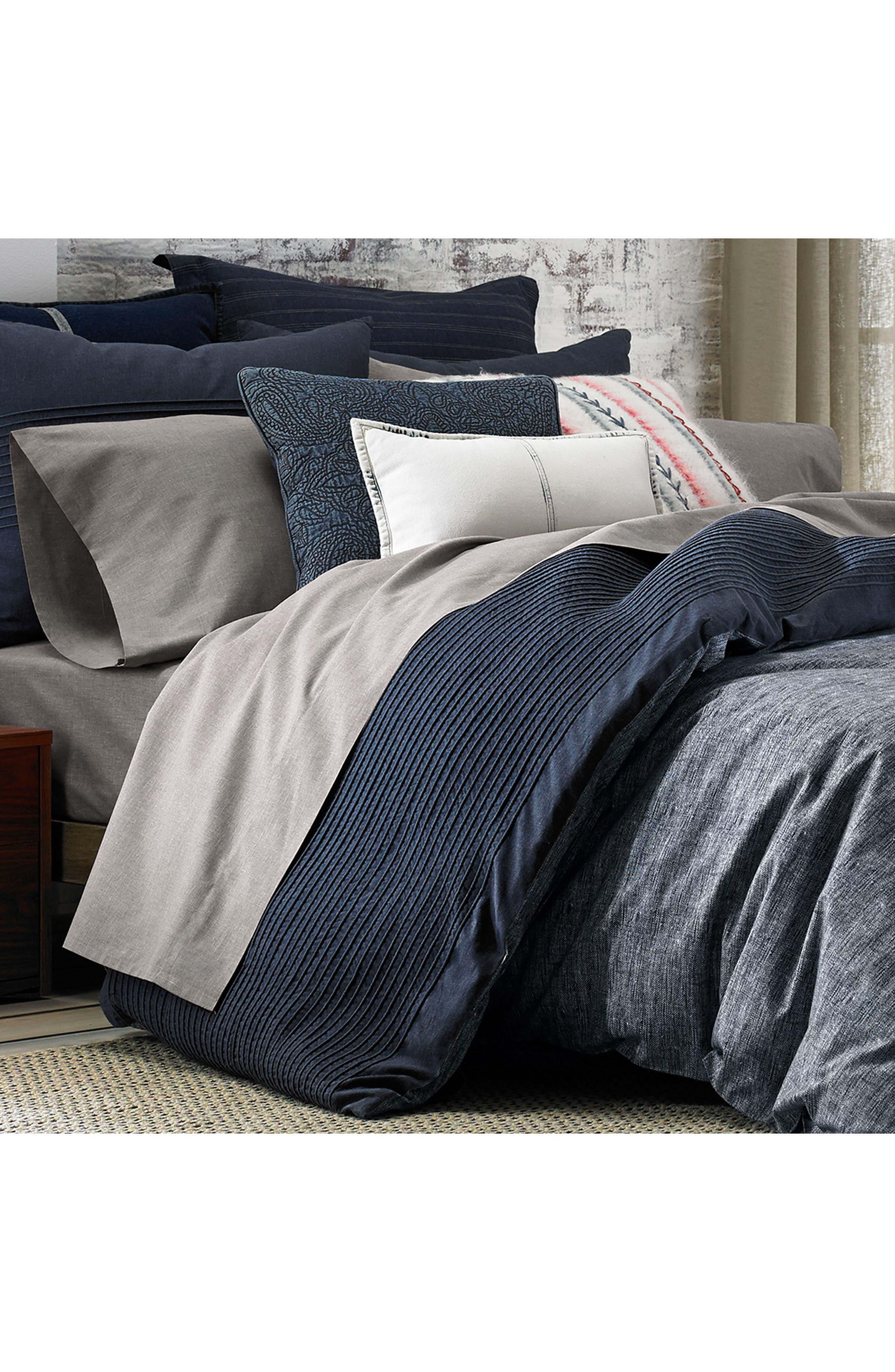 Vintage Pleated Comforter & Sham Set,                             Alternate thumbnail 6, color,                             Denim Blue