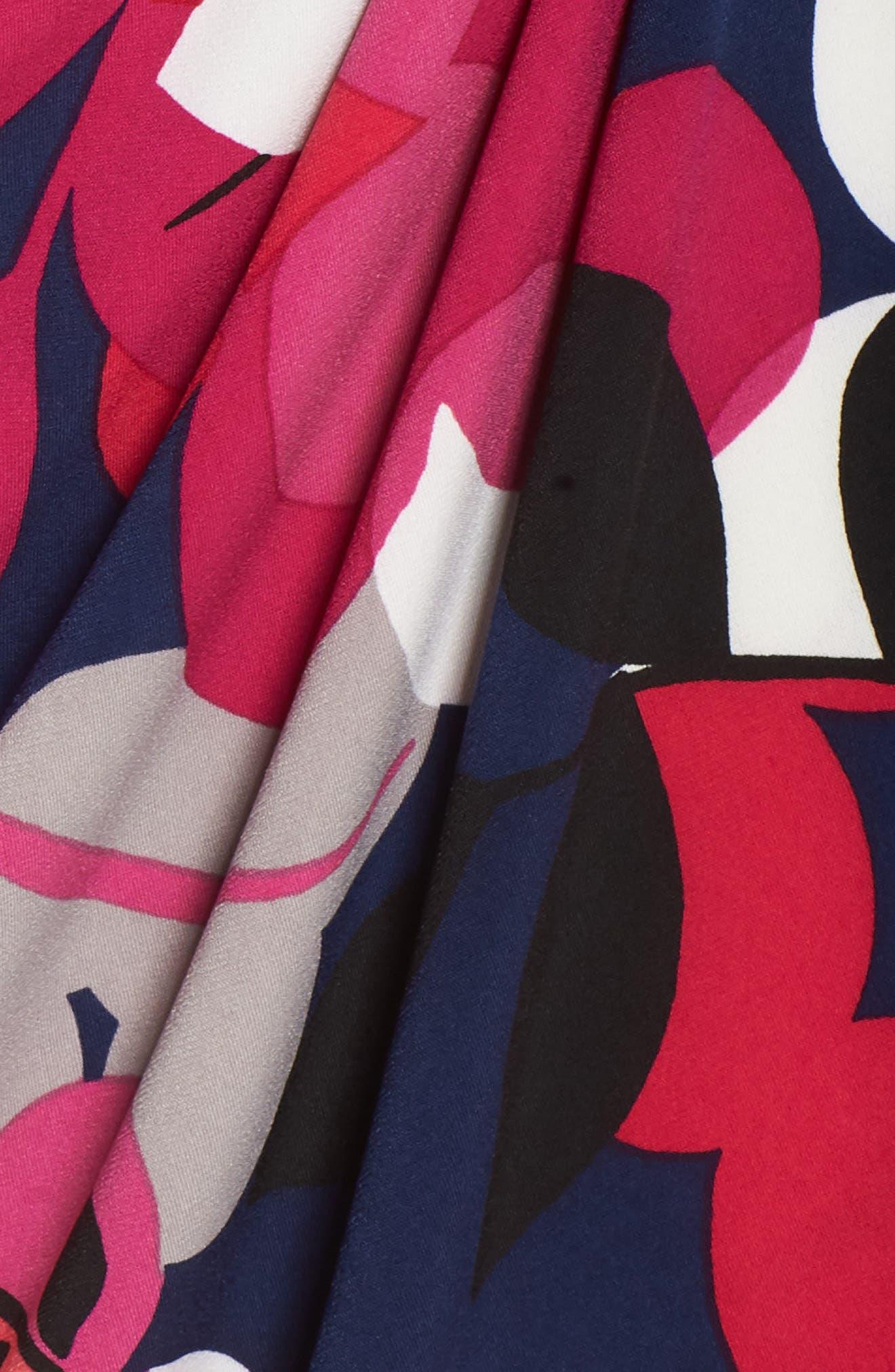 Berry Floral Wrap Dress,                             Alternate thumbnail 6, color,                             Navy/ Berry