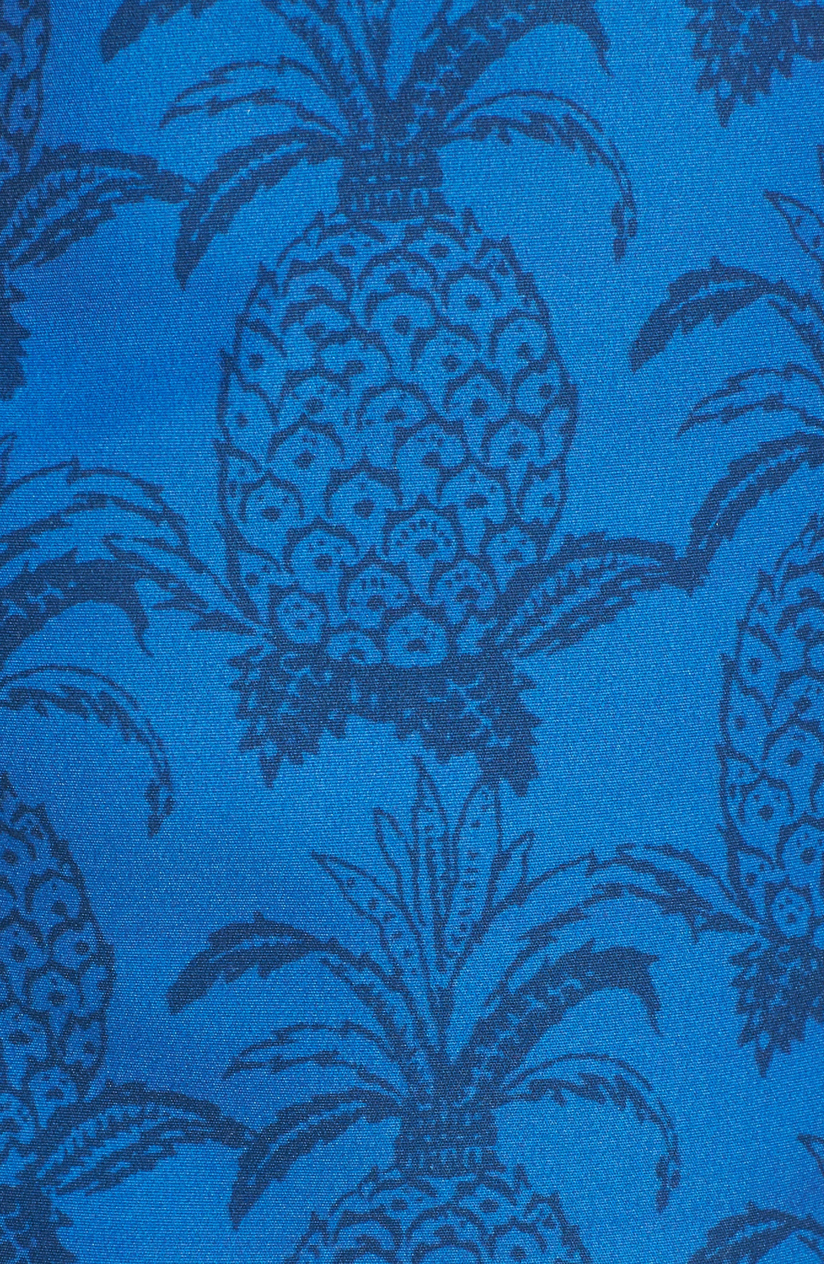 Castle Cliff Regular Fit Print Swim Trunks,                             Alternate thumbnail 5, color,                             Pacific