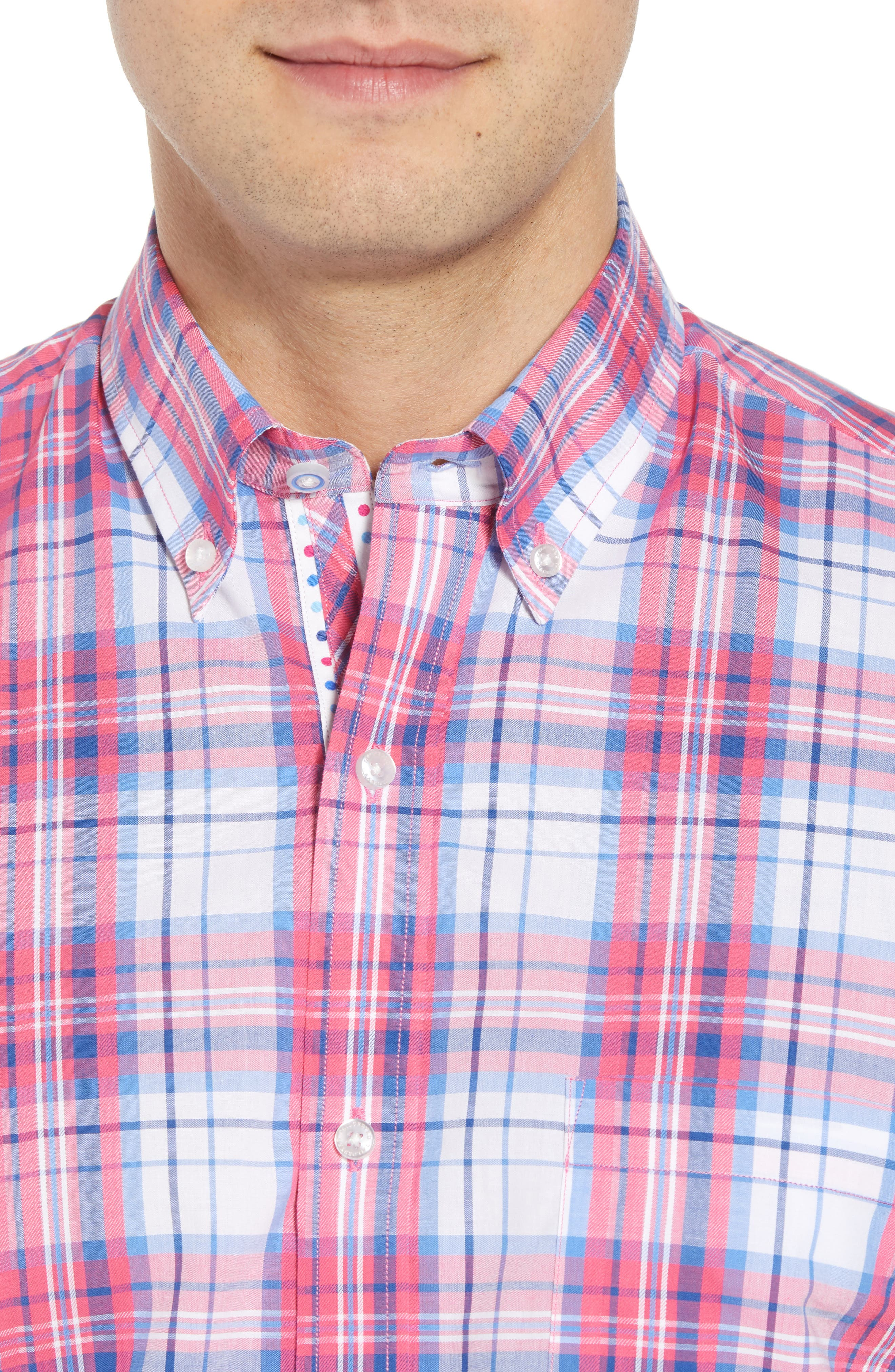 Alesso Regular Fit Plaid Sport Shirt,                             Alternate thumbnail 2, color,                             Coral