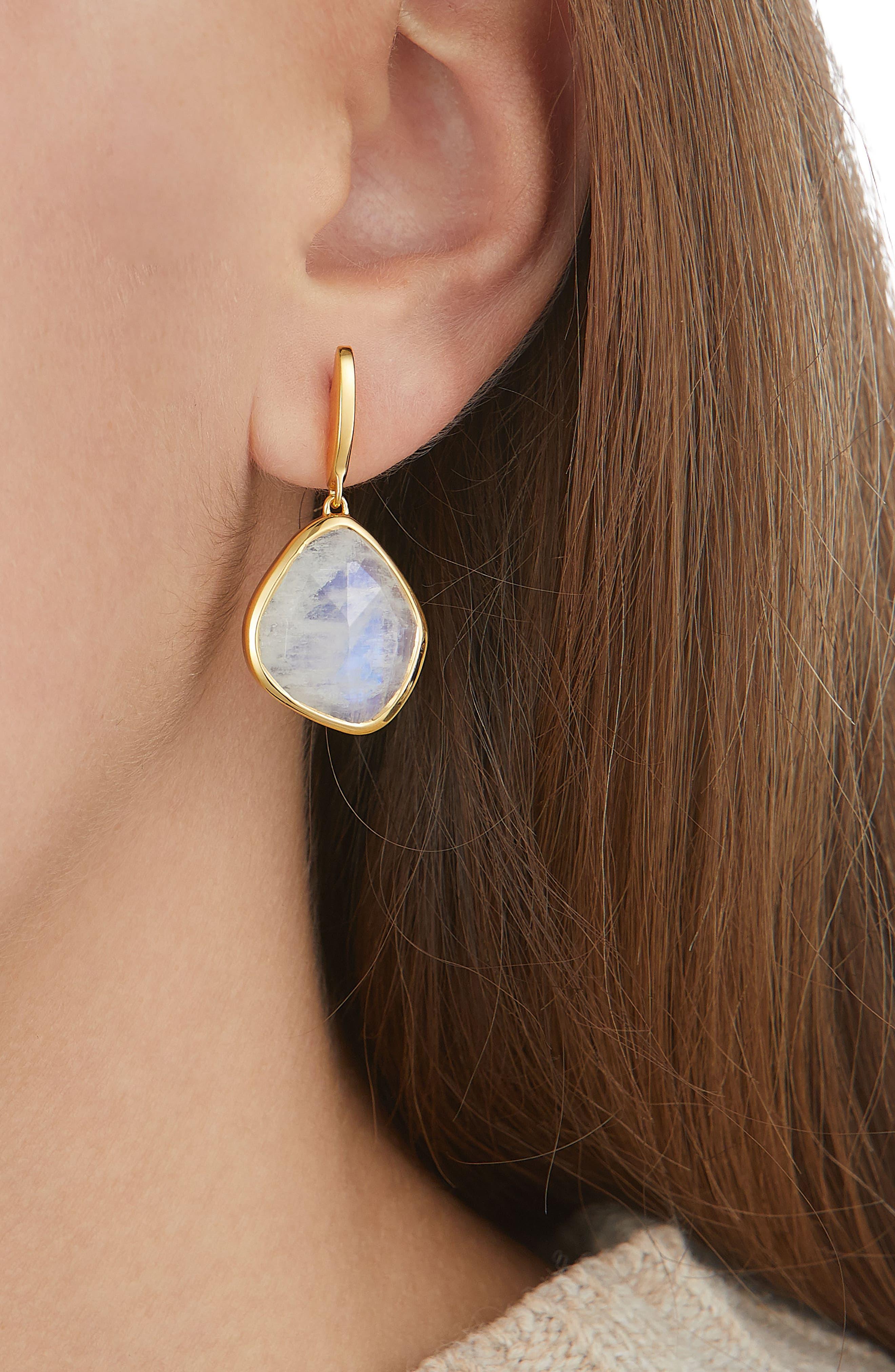 Siren Nugget Semiprecious Stone Drop Earrings,                             Alternate thumbnail 3, color,                             Yellow Gold/ Moonstone