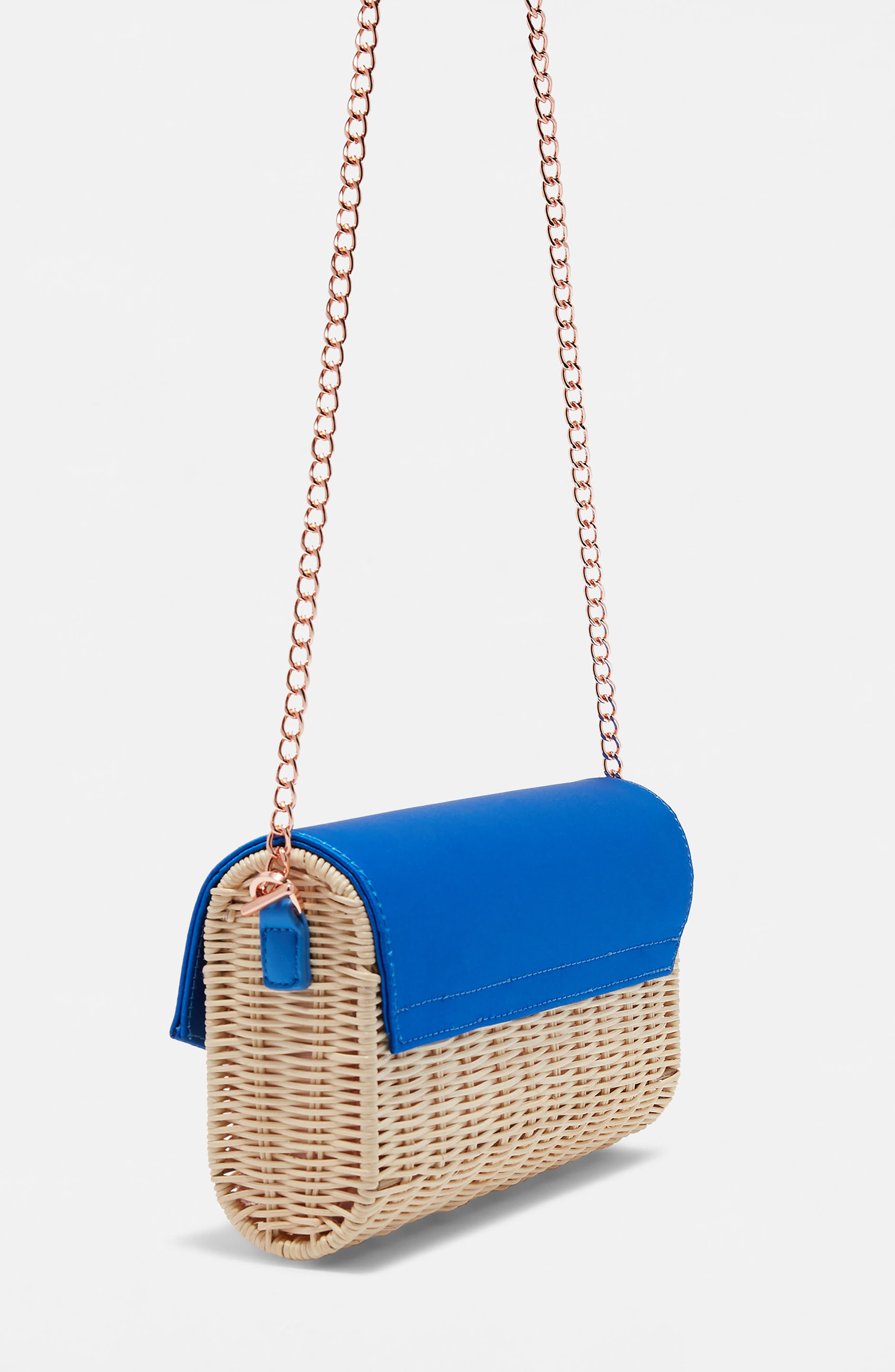 Haarley Harmony Woven Rattan Clutch,                             Alternate thumbnail 3, color,                             Bright Blue