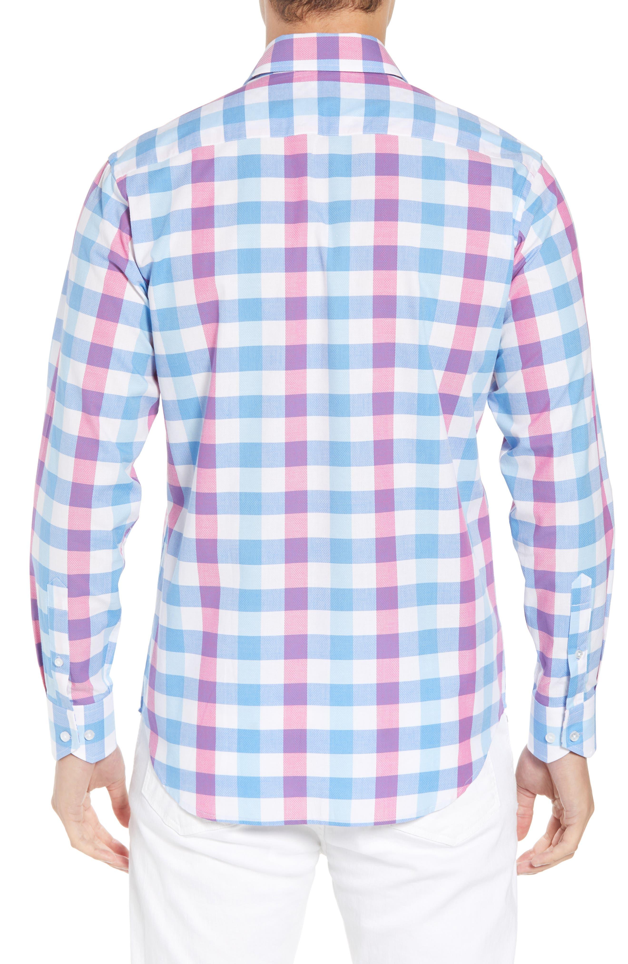 Bazel Regular Fit Check Sport Shirt,                             Alternate thumbnail 3, color,                             Light Blue