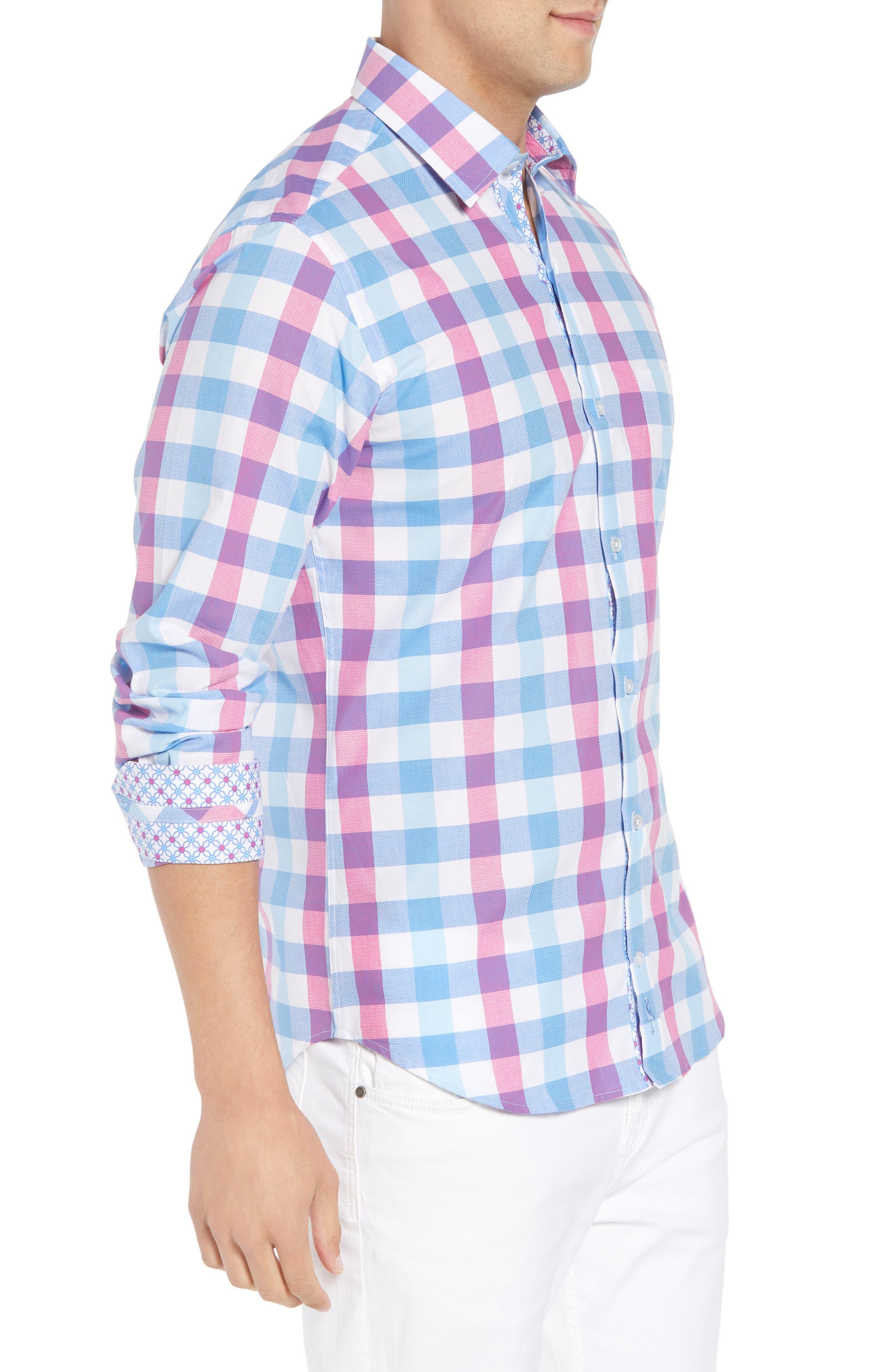 Bazel Regular Fit Check Sport Shirt,                             Alternate thumbnail 4, color,                             Light Blue