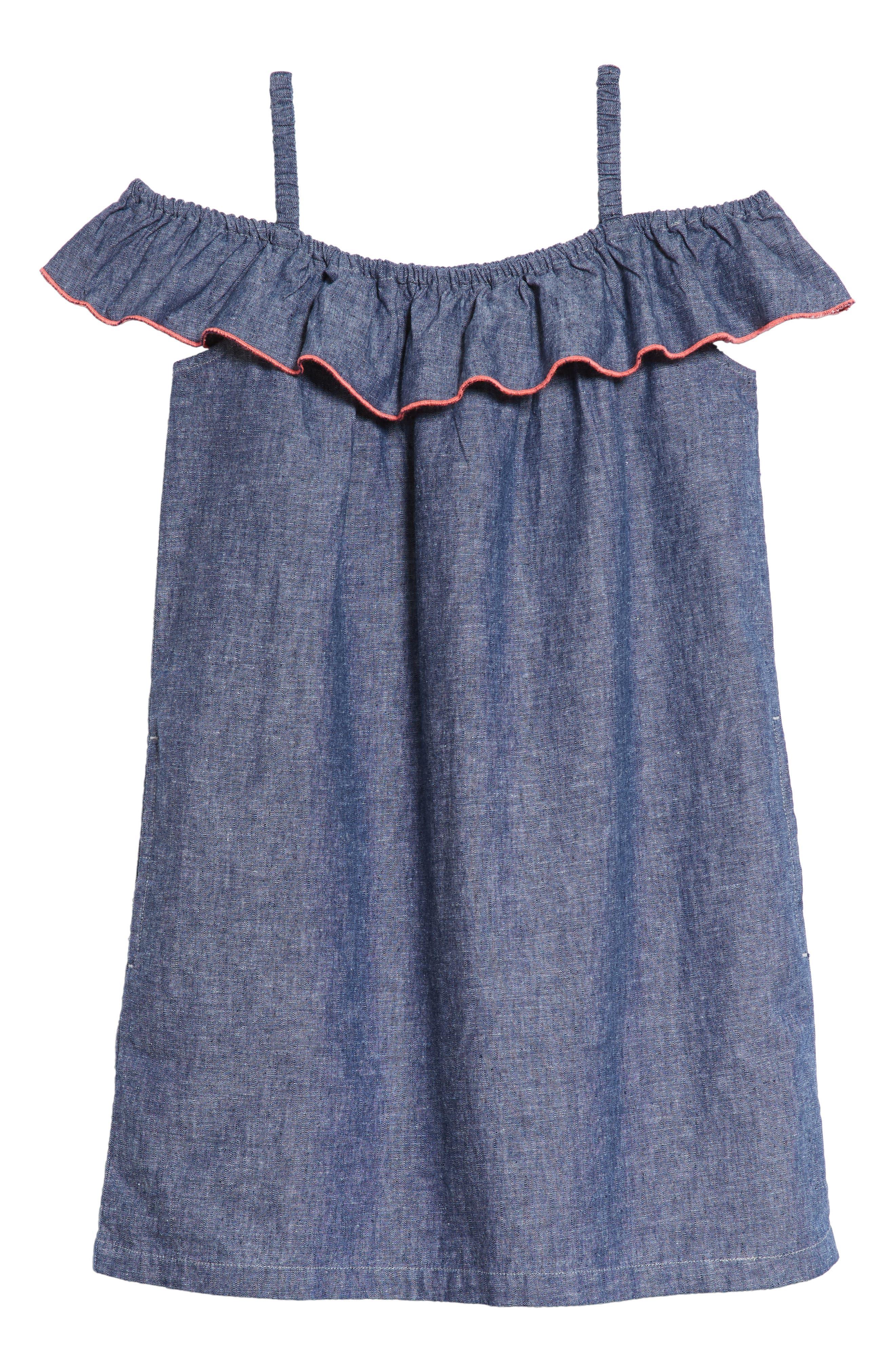 Chambray Ruffle Neck Dress,                             Main thumbnail 1, color,                             Indigo