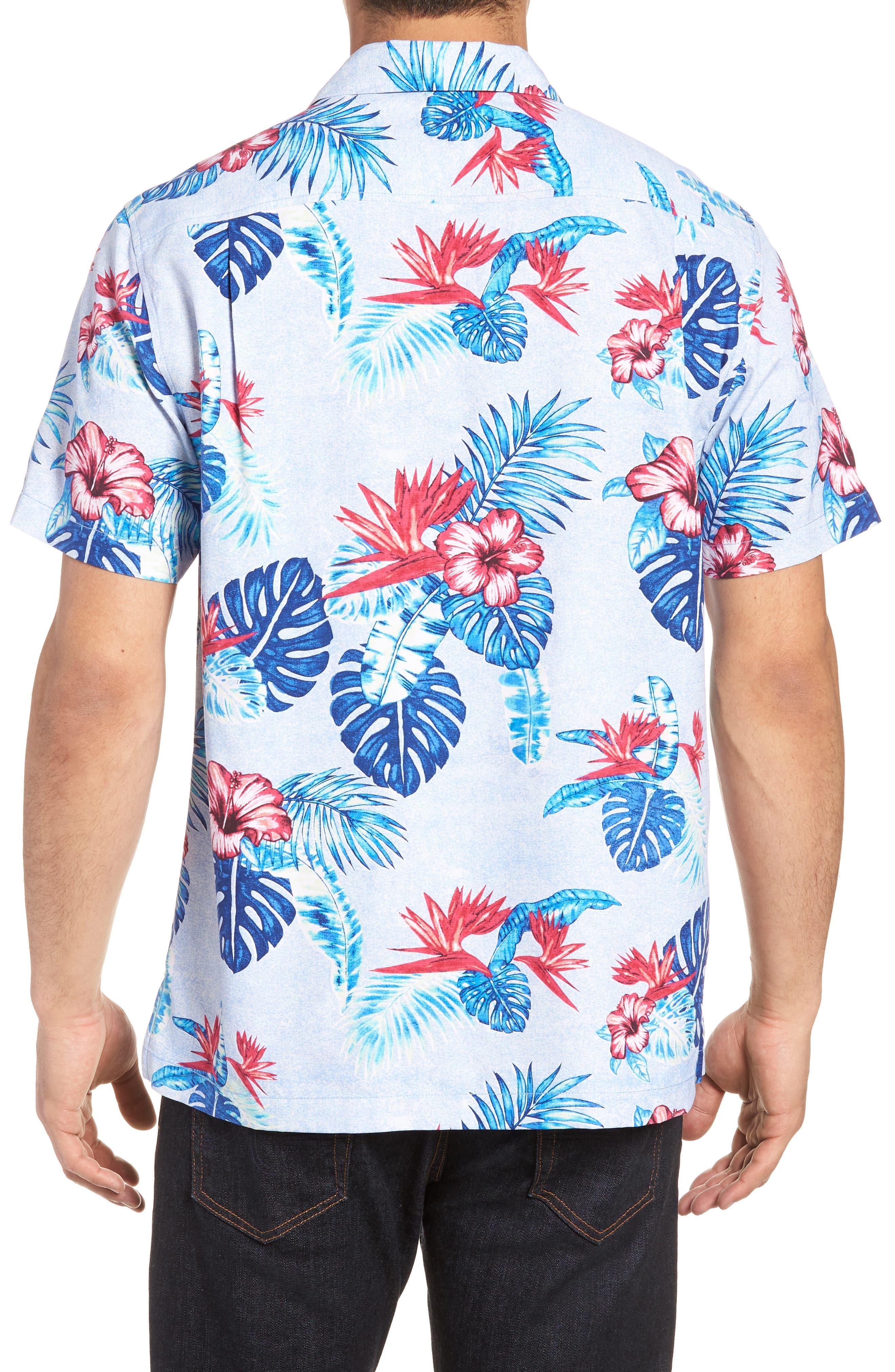 Casa Rosa Floral Print Silk Shirt,                             Alternate thumbnail 3, color,                             Light Sky