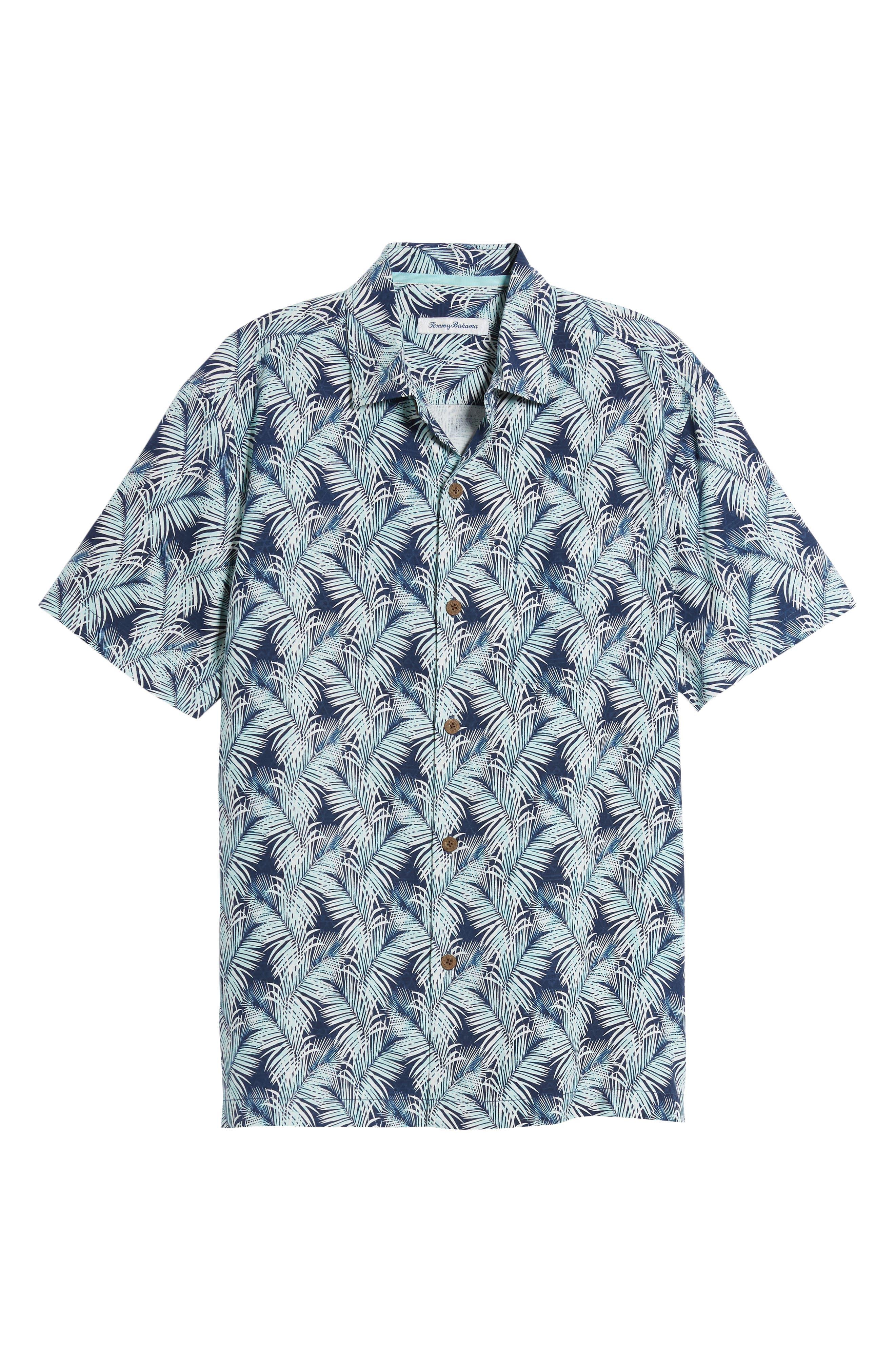 Palms of Tulum Silk Camp Shirt,                             Alternate thumbnail 6, color,                             Ocean Deep