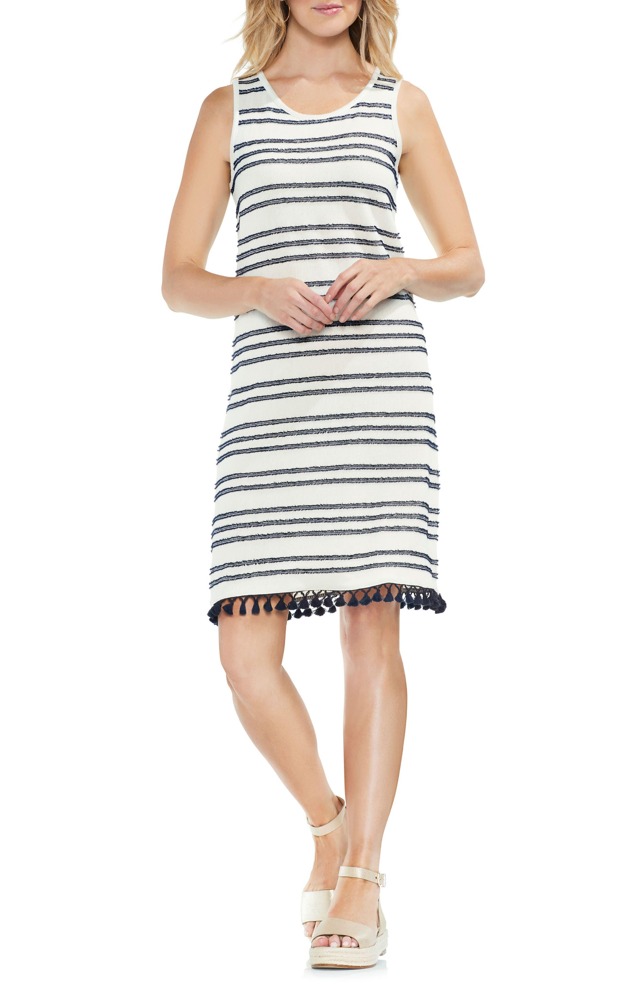 Fringe Hem Stripe Cotton Blend Dress,                         Main,                         color, Black Iris