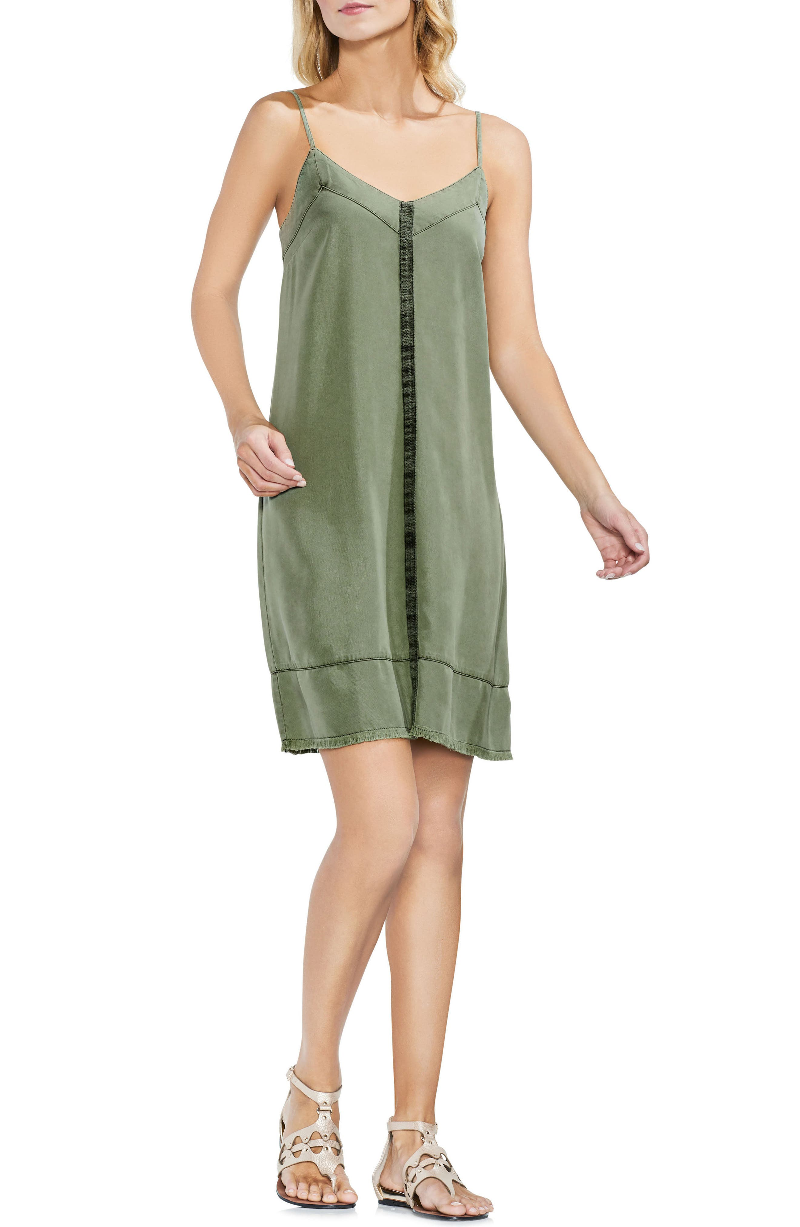 Center Seam Slip Dress,                             Main thumbnail 1, color,                             Canopy Green