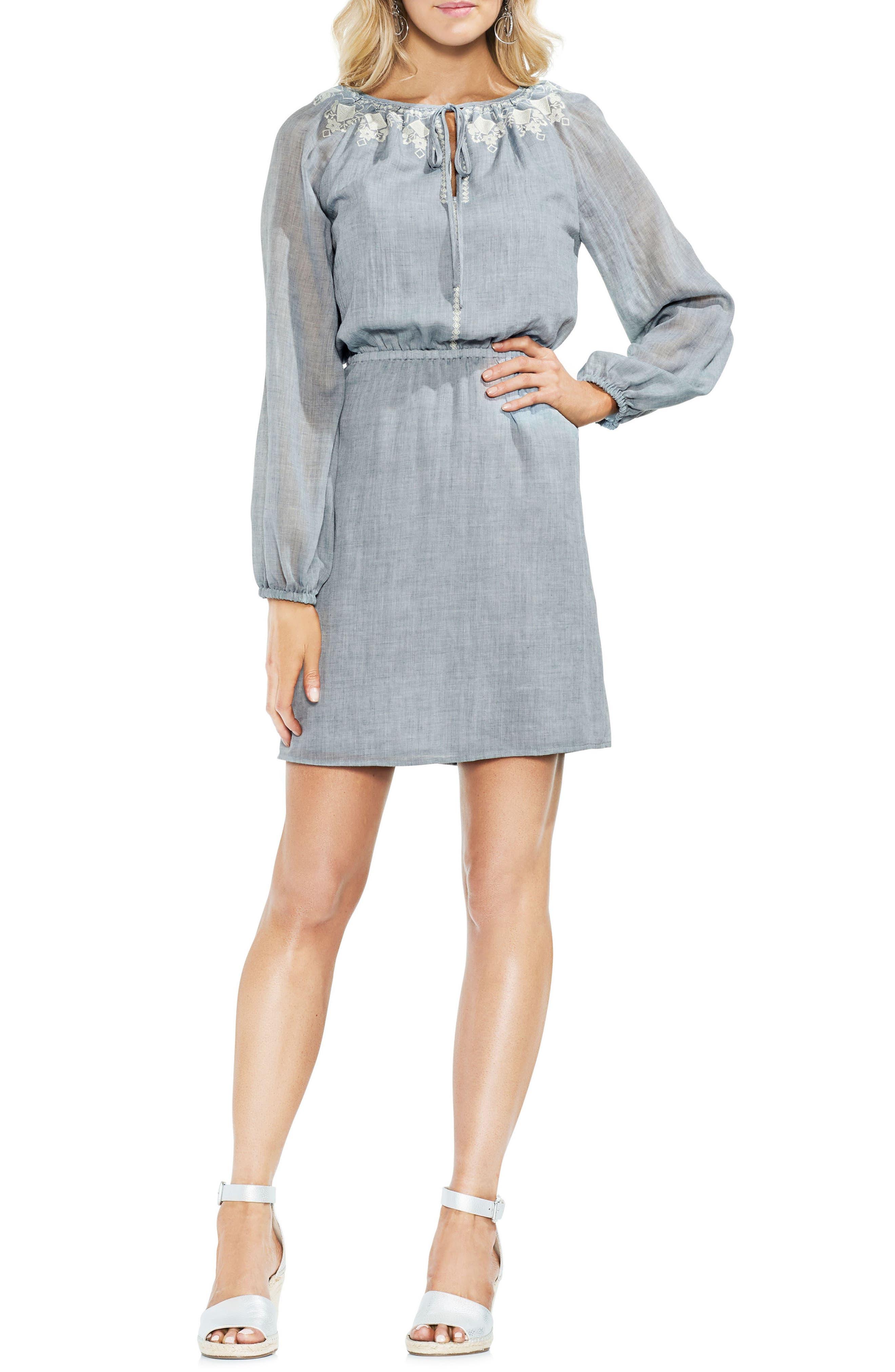 Mélange Gauze Cinch Waist Dress,                             Main thumbnail 1, color,                             314-Indigonighth