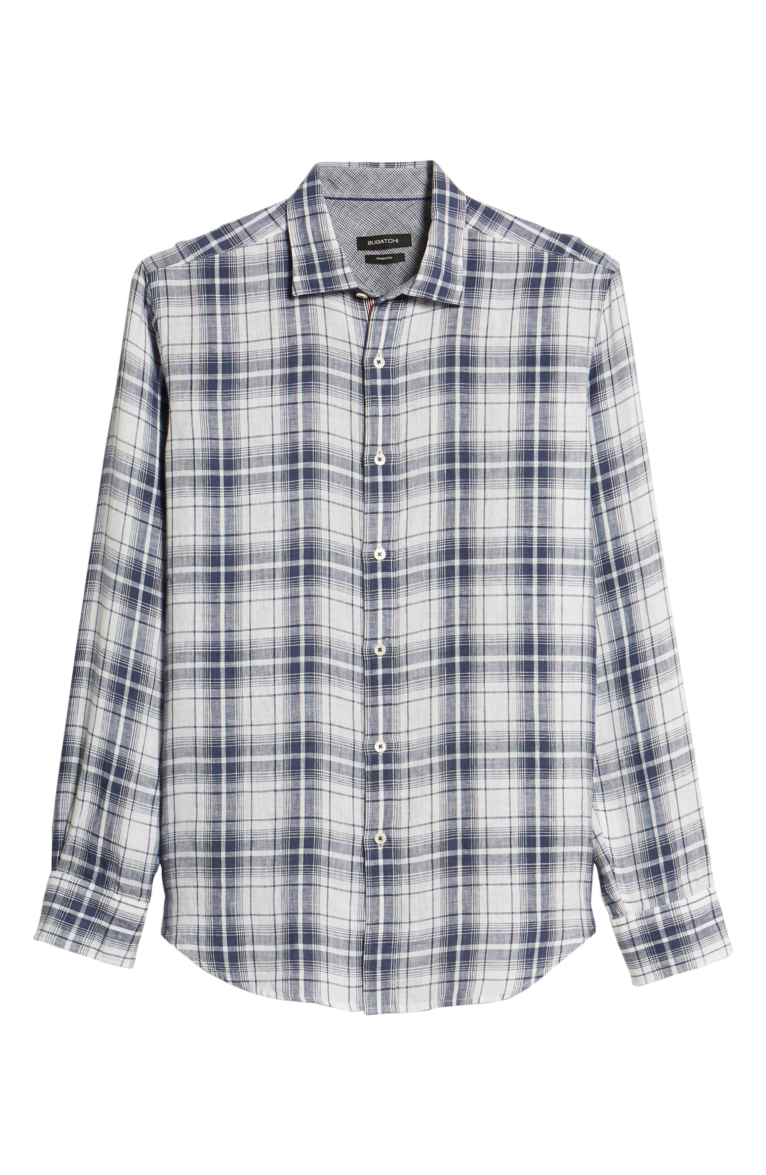 Shaped Fit Plaid Linen Sport Shirt,                             Alternate thumbnail 6, color,                             Navy