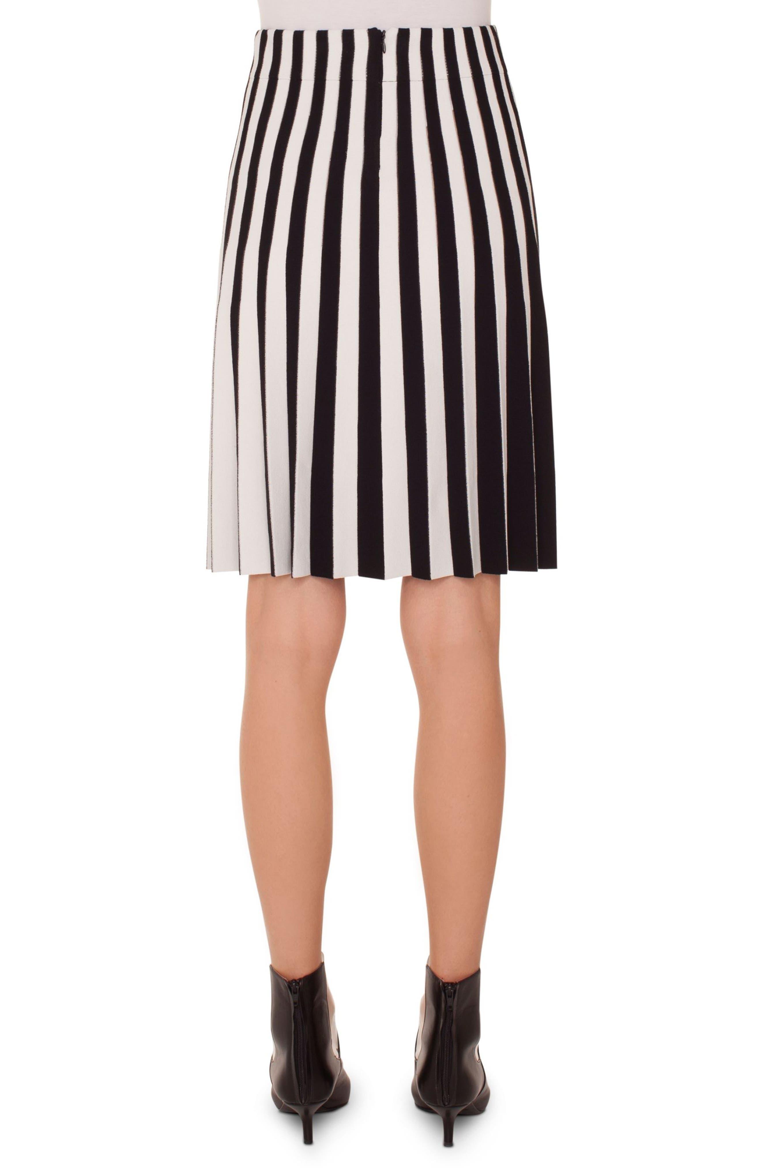 Stripe Pleat Skirt,                             Alternate thumbnail 2, color,                             Black-Cream