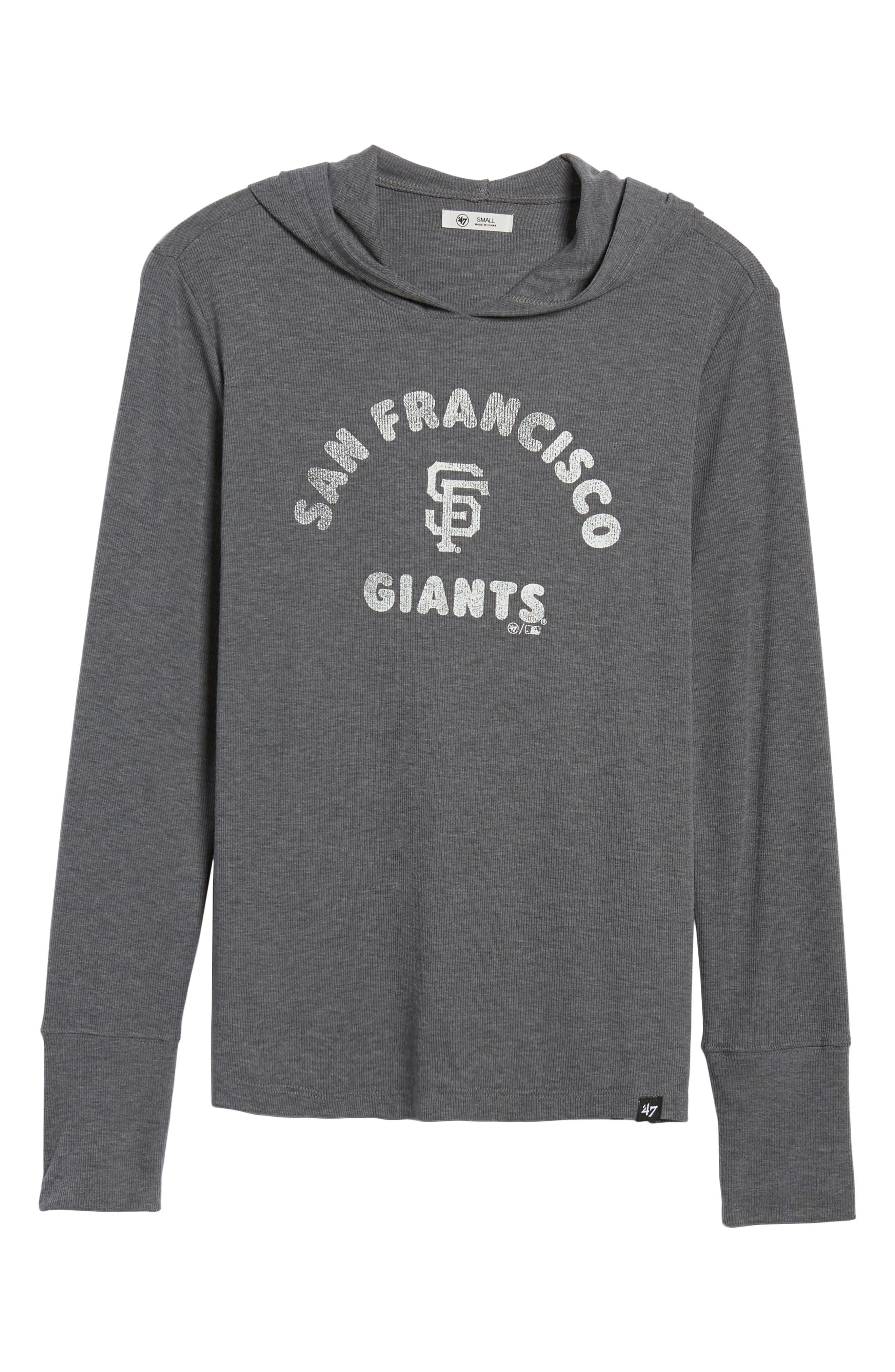 Campbell San Francisco Giants Rib Knit Hooded Top,                             Alternate thumbnail 7, color,                             Submarine