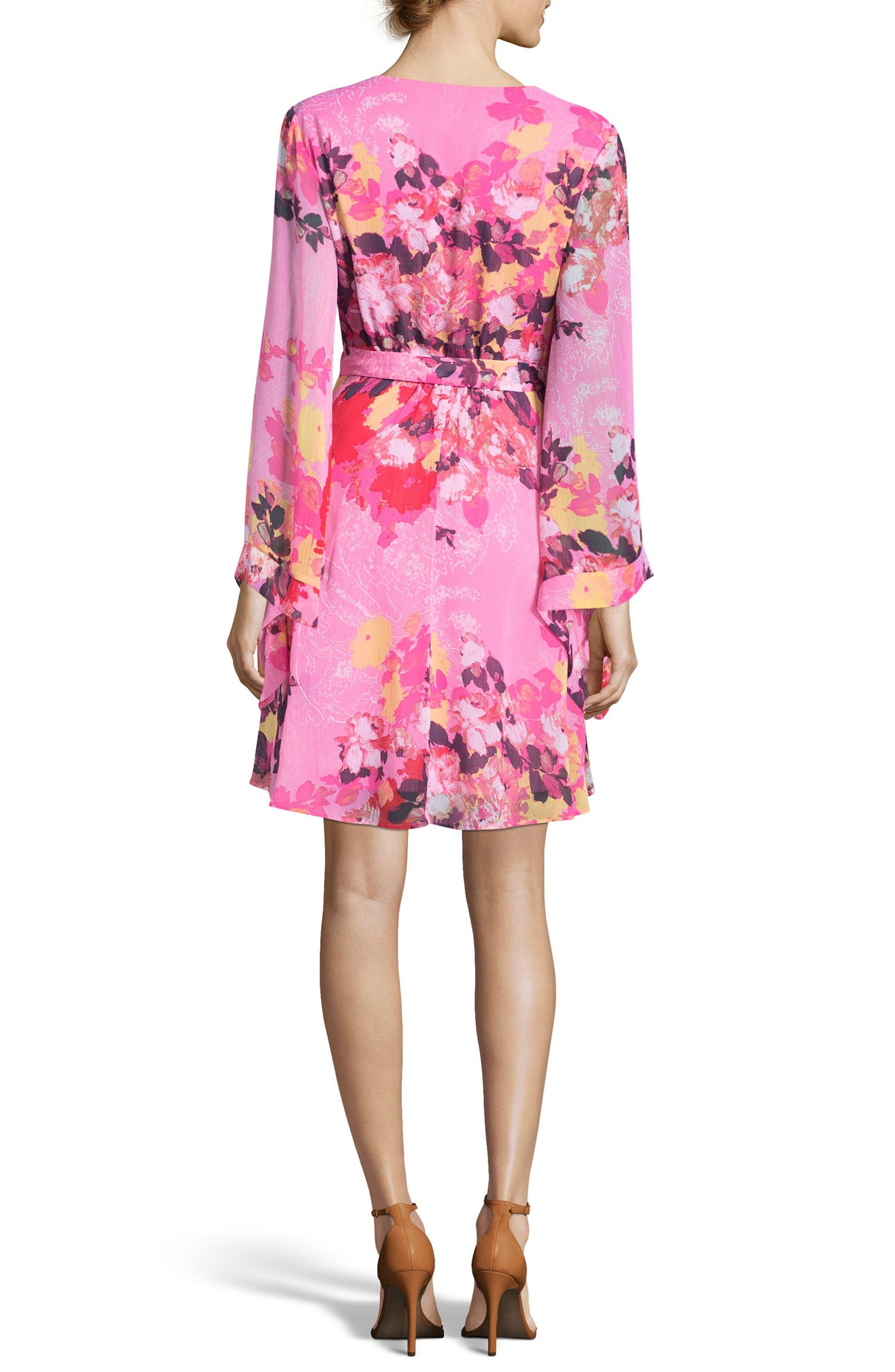 Floral Print Wrap Dress,                             Alternate thumbnail 2, color,                             Pink