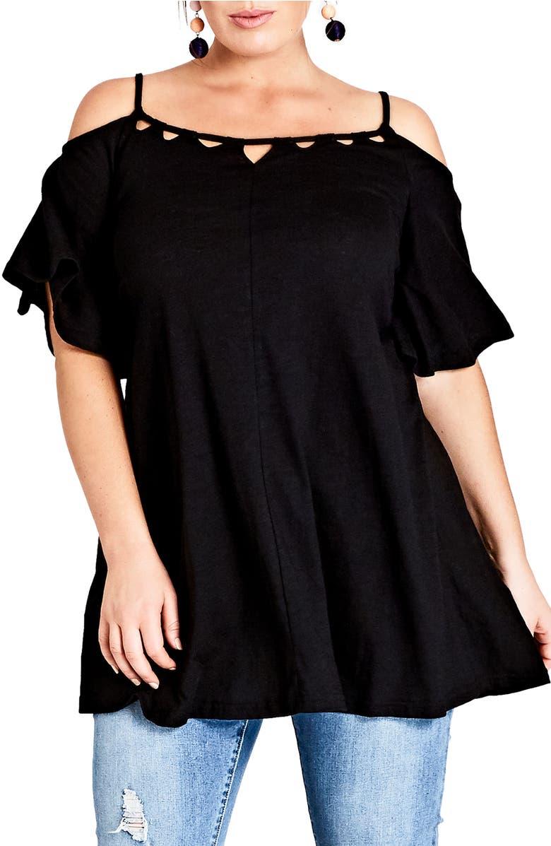 Cold Shoulder Tunic,                         Main,                         color, Black