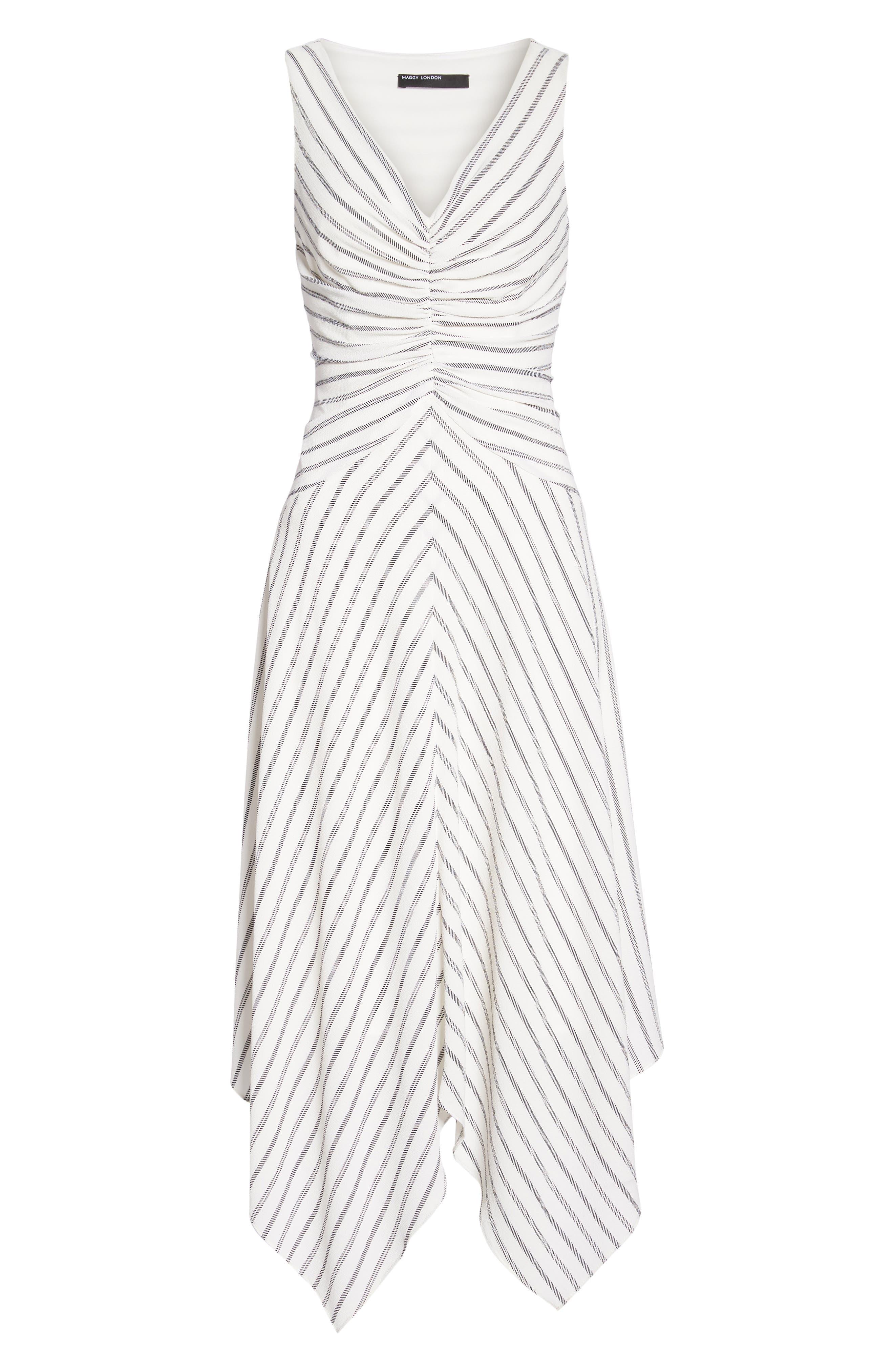 Stripe Ruched Handkerchief Hem Dress,                             Alternate thumbnail 7, color,                             Soft White/ Black
