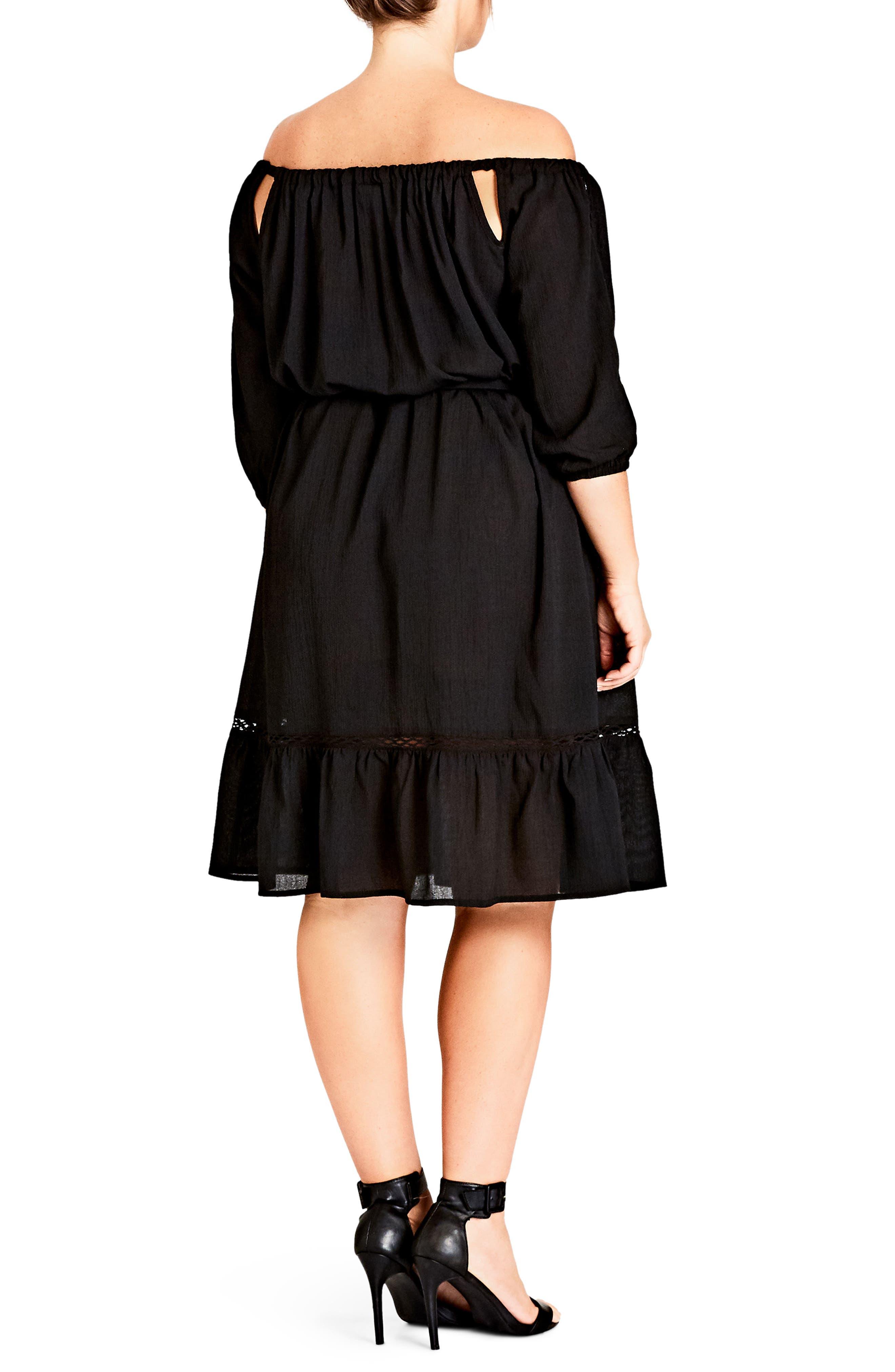 Darling Diva Off the Shoulder Dress,                             Alternate thumbnail 2, color,                             Black