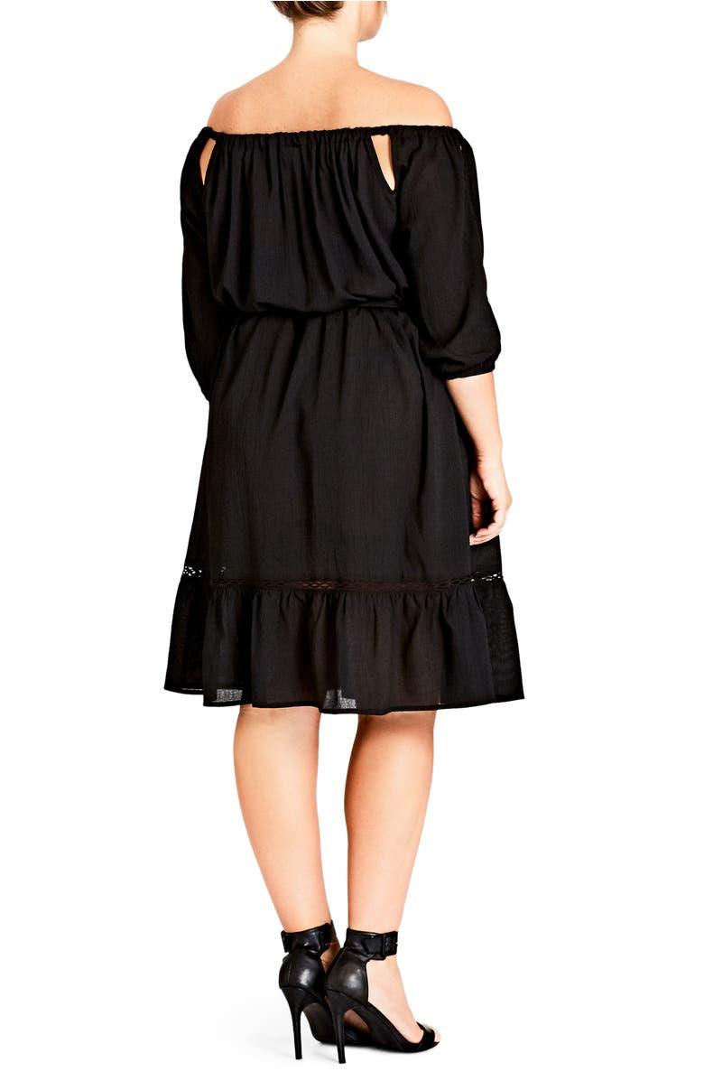 CITY CHIC TRENDY PLUS SIZE OFF-THE-SHOULDER PEASANT DRESS, BLACK ...