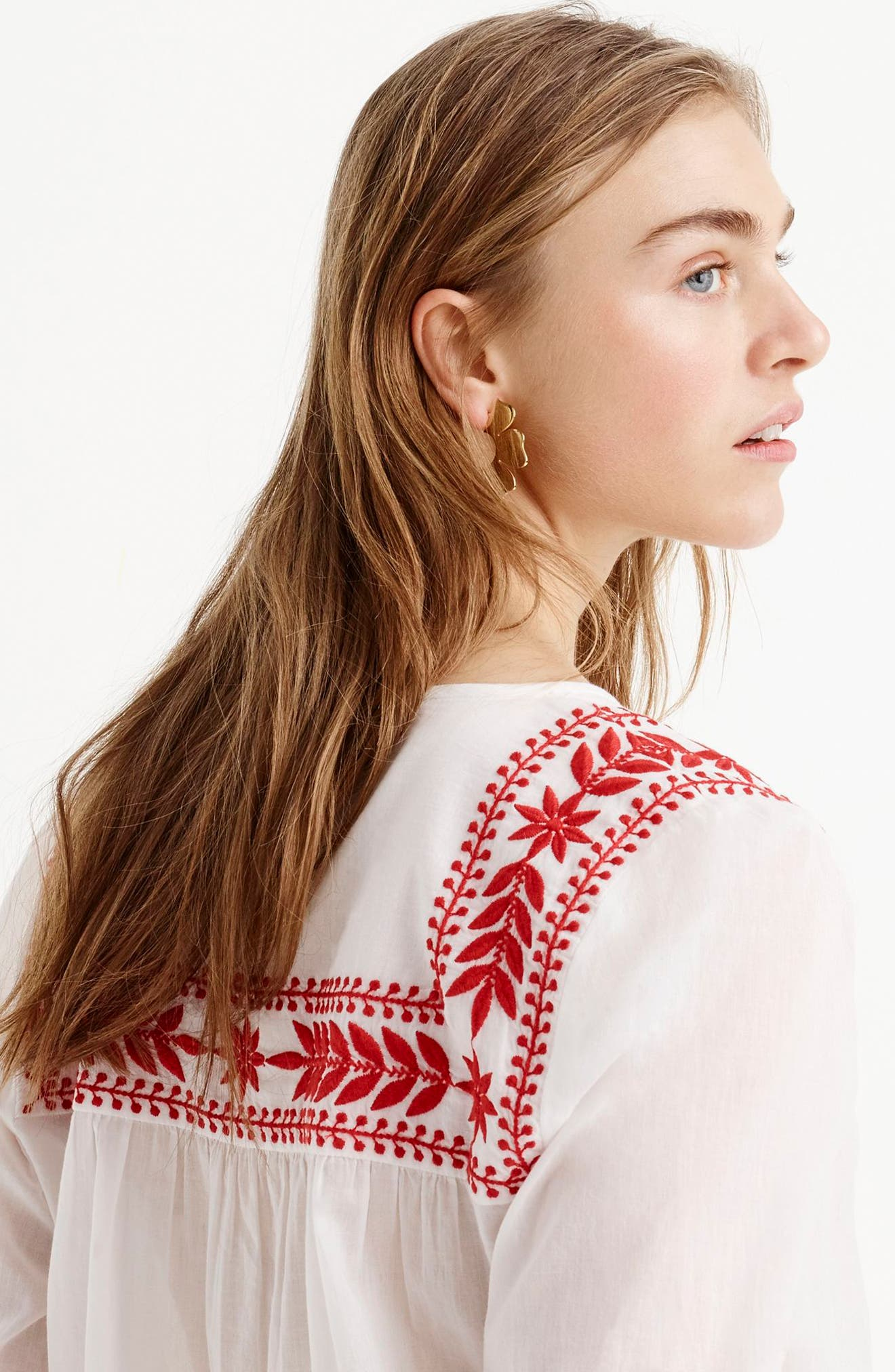 J.Crew Embroidered Semolina Top,                             Alternate thumbnail 2, color,                             White Red