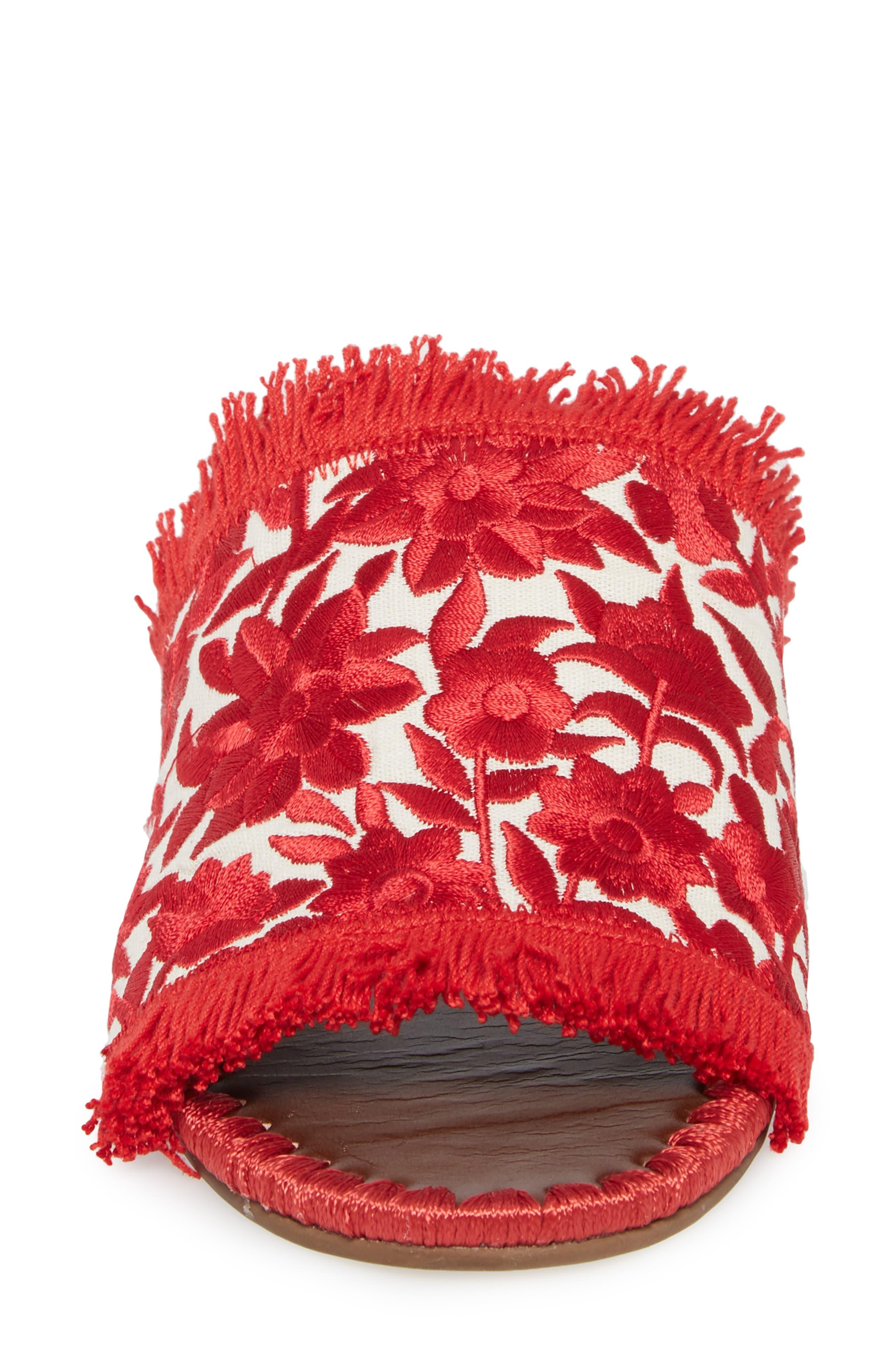 Tavie Fringed Slide Sandal,                             Alternate thumbnail 4, color,                             Red/ Cream Fabric