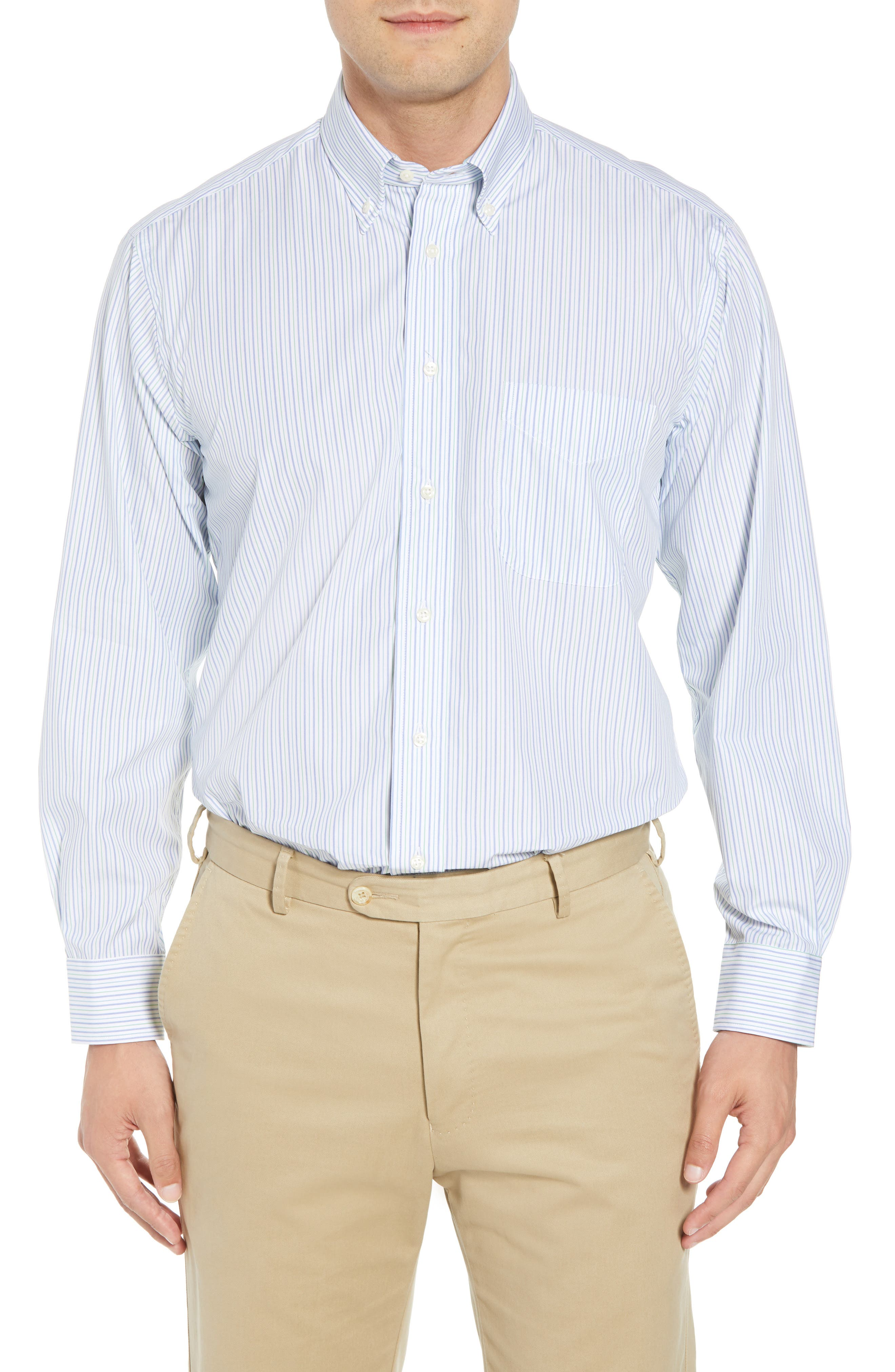 Tailored Fit Stripe Dress Shirt,                         Main,                         color, Green