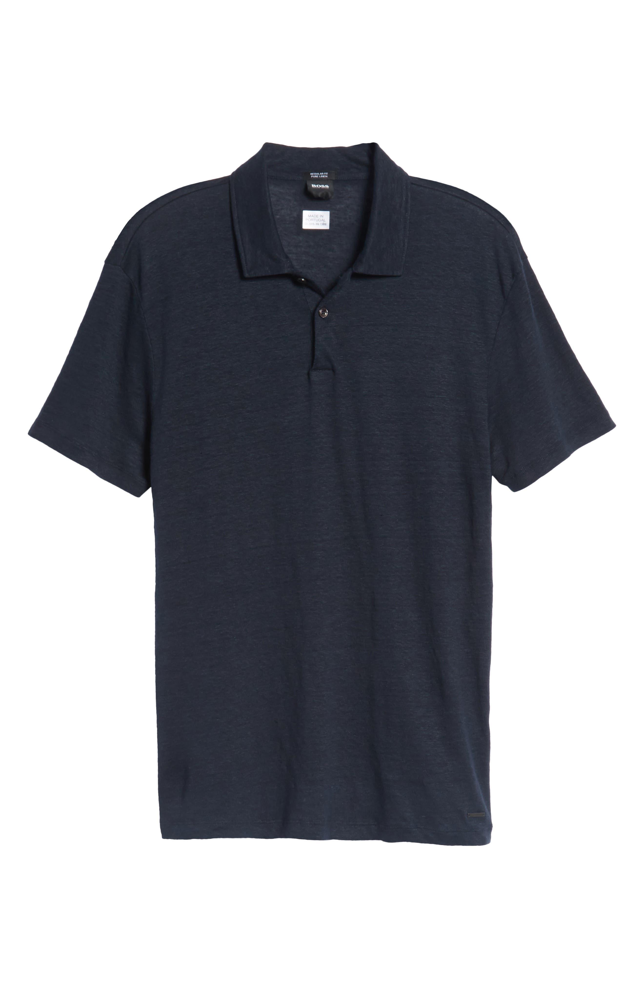 Hugo Boss Regular Fit Paino Linen Polo,                             Alternate thumbnail 6, color,                             Blue