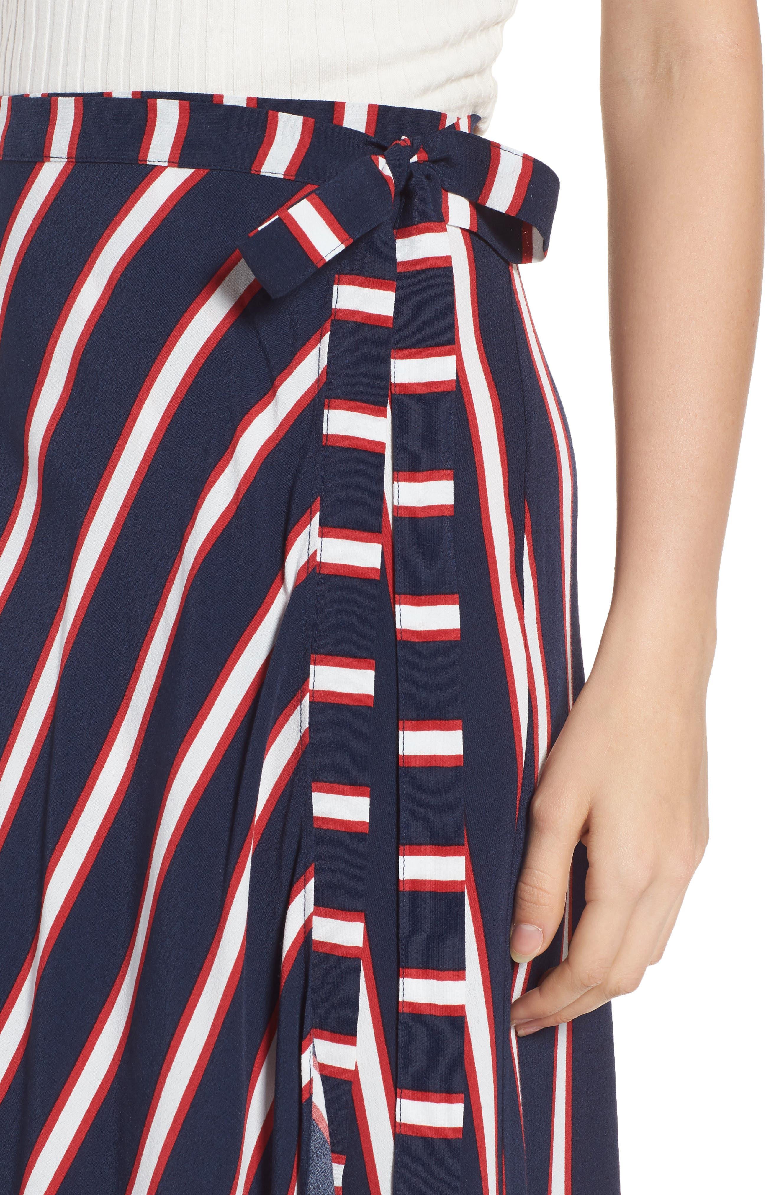 Stripe Midi Wrap Skirt,                             Alternate thumbnail 4, color,                             Navy Peacoat Awning Stripe