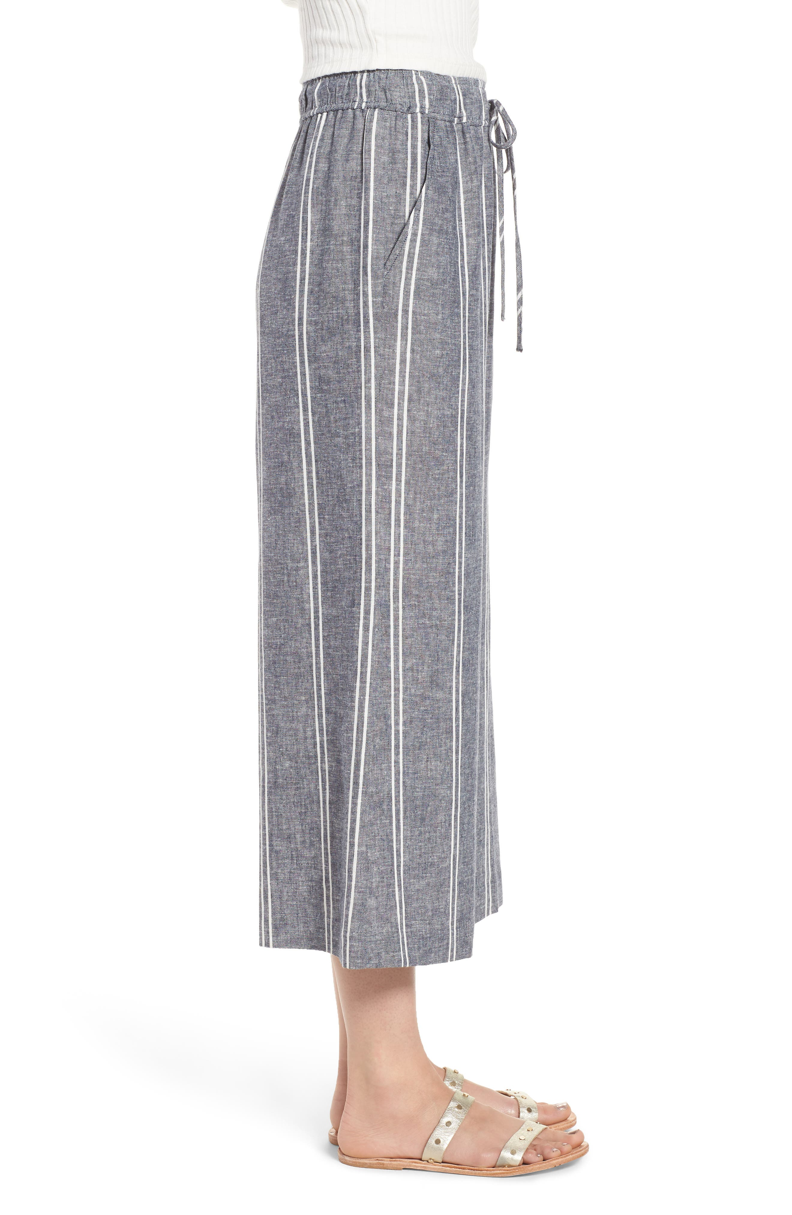 Stripe Linen Blend Culottes,                             Alternate thumbnail 3, color,                             Navy Peacoat Chambray Stripe