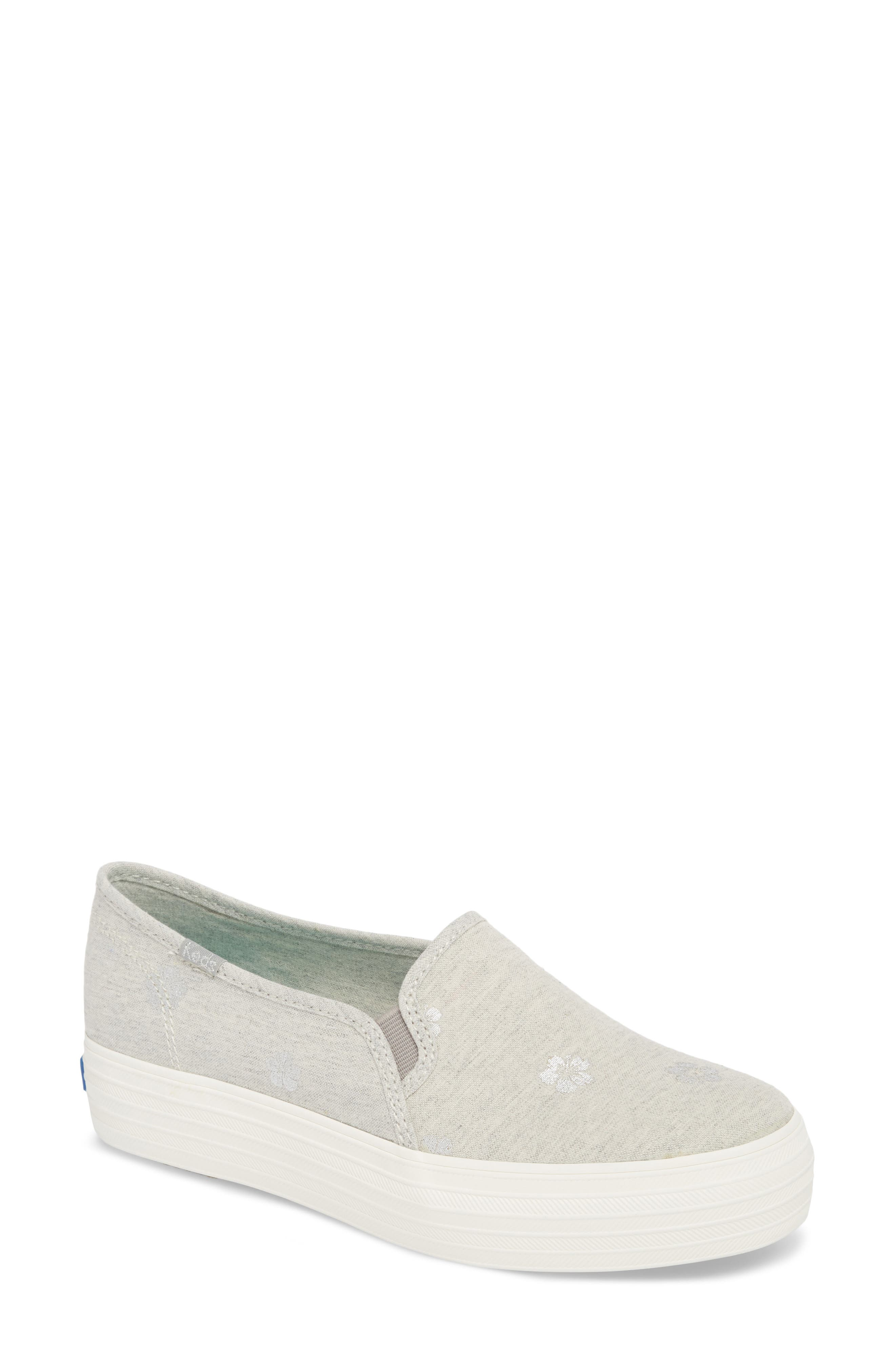 Triple Decker Hibiscus Slip-On Platform Sneaker,                             Main thumbnail 1, color,                             Light Grey