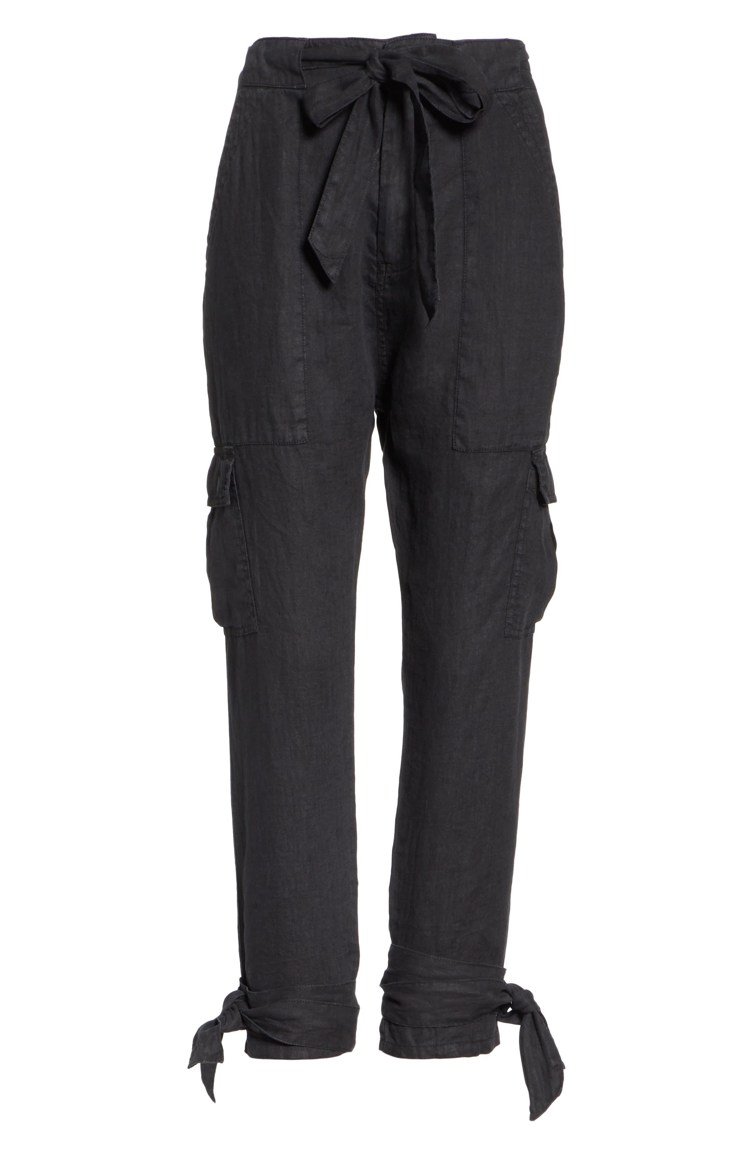Erlette Linen Tie Cuff Crop Pants,                             Alternate thumbnail 6, color,                             Caviar