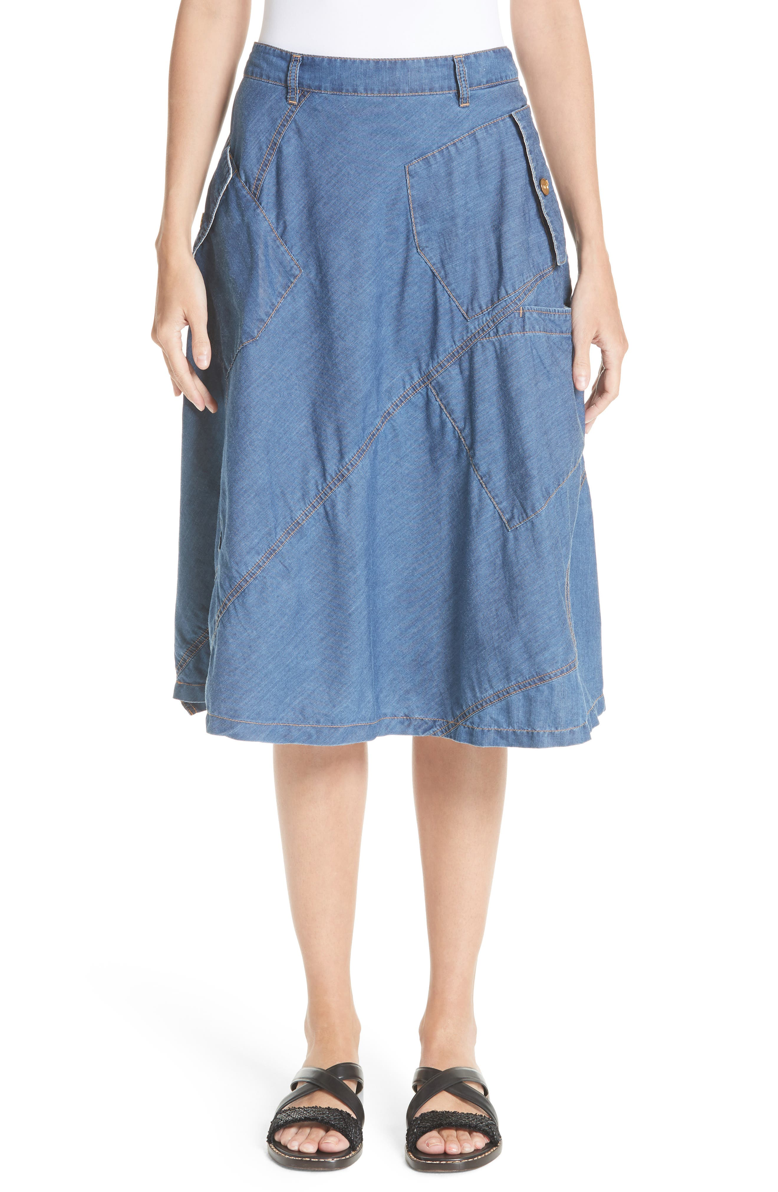 Tricot Comme des Garçons Chambray & Eyelet Skirt