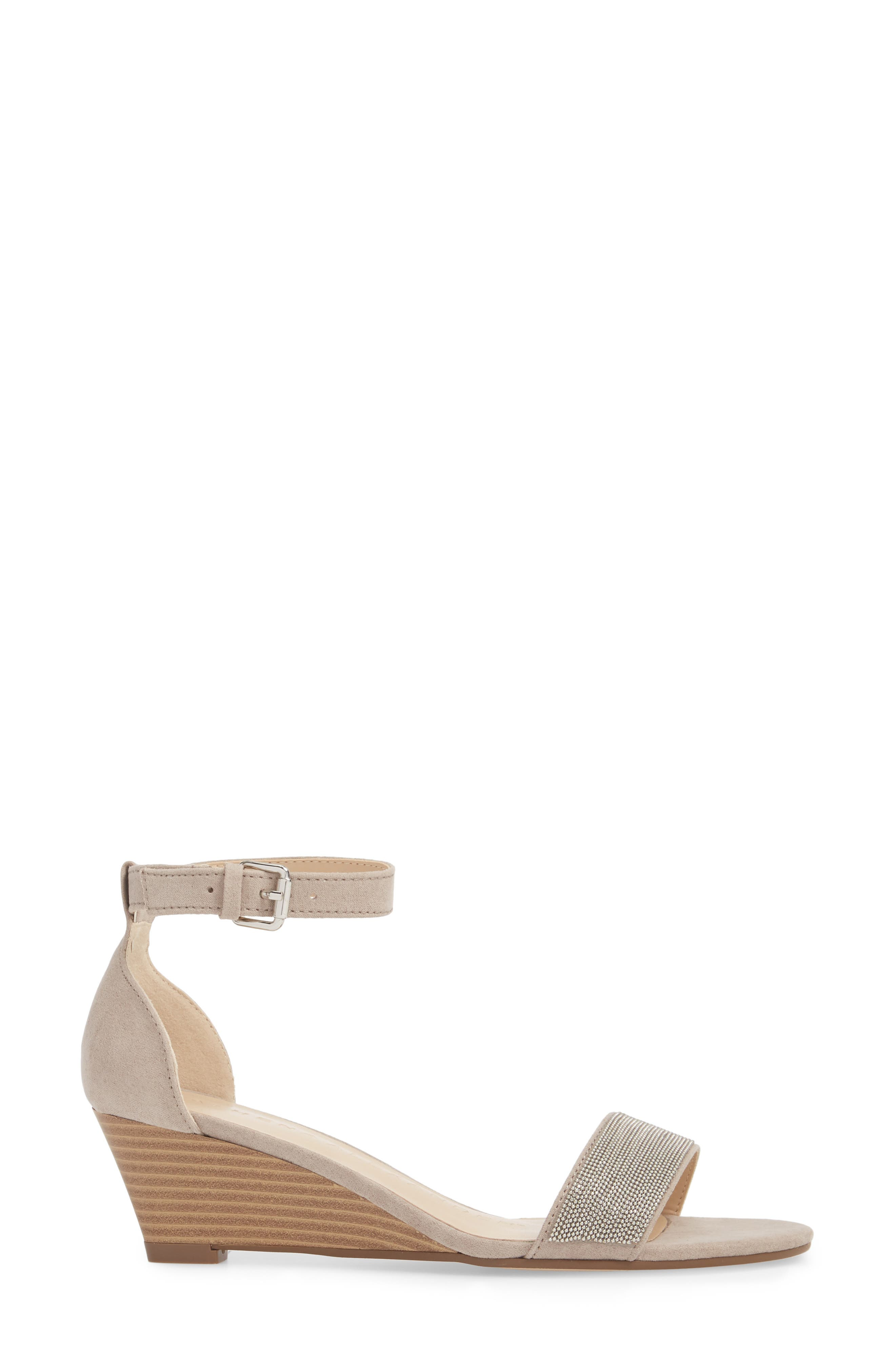 Enfield Ankle Strap Wedge Sandal,                             Alternate thumbnail 3, color,                             Taupe Suede
