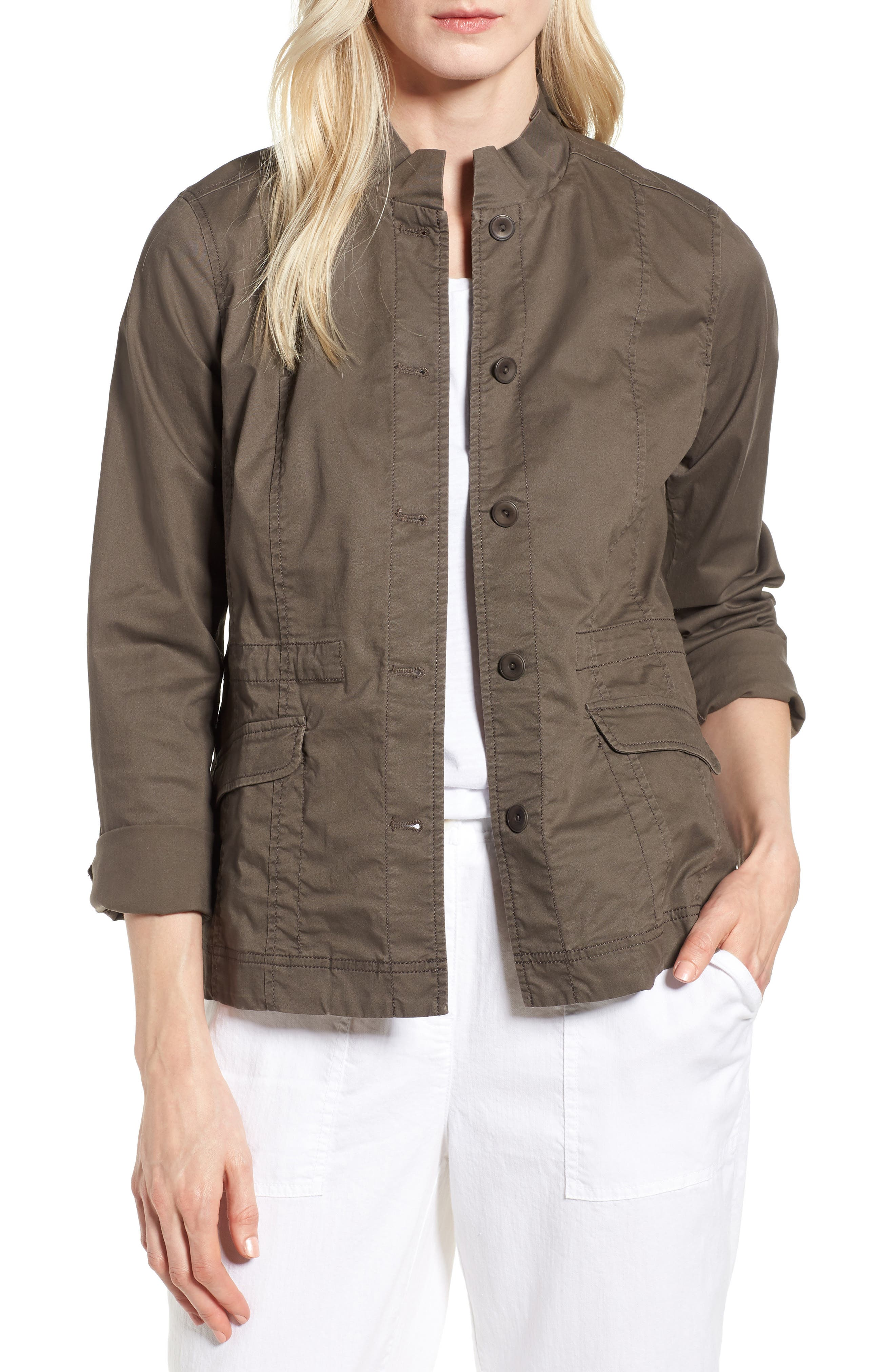 Ruffle Collar Organic Cotton Blend Jacket,                             Main thumbnail 1, color,                             Rye