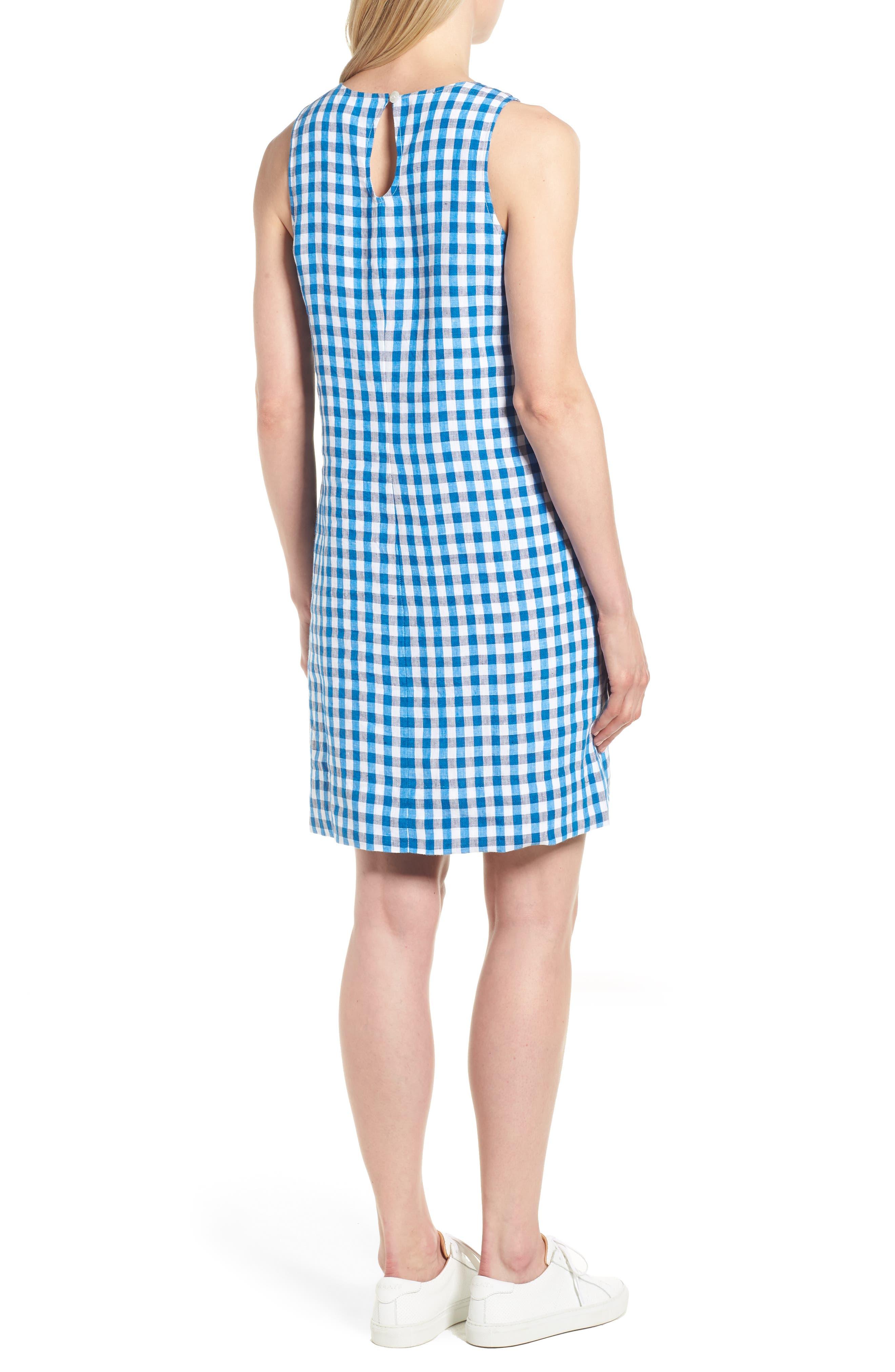 Gingham Shift Dress,                             Alternate thumbnail 2, color,                             Blue Aster