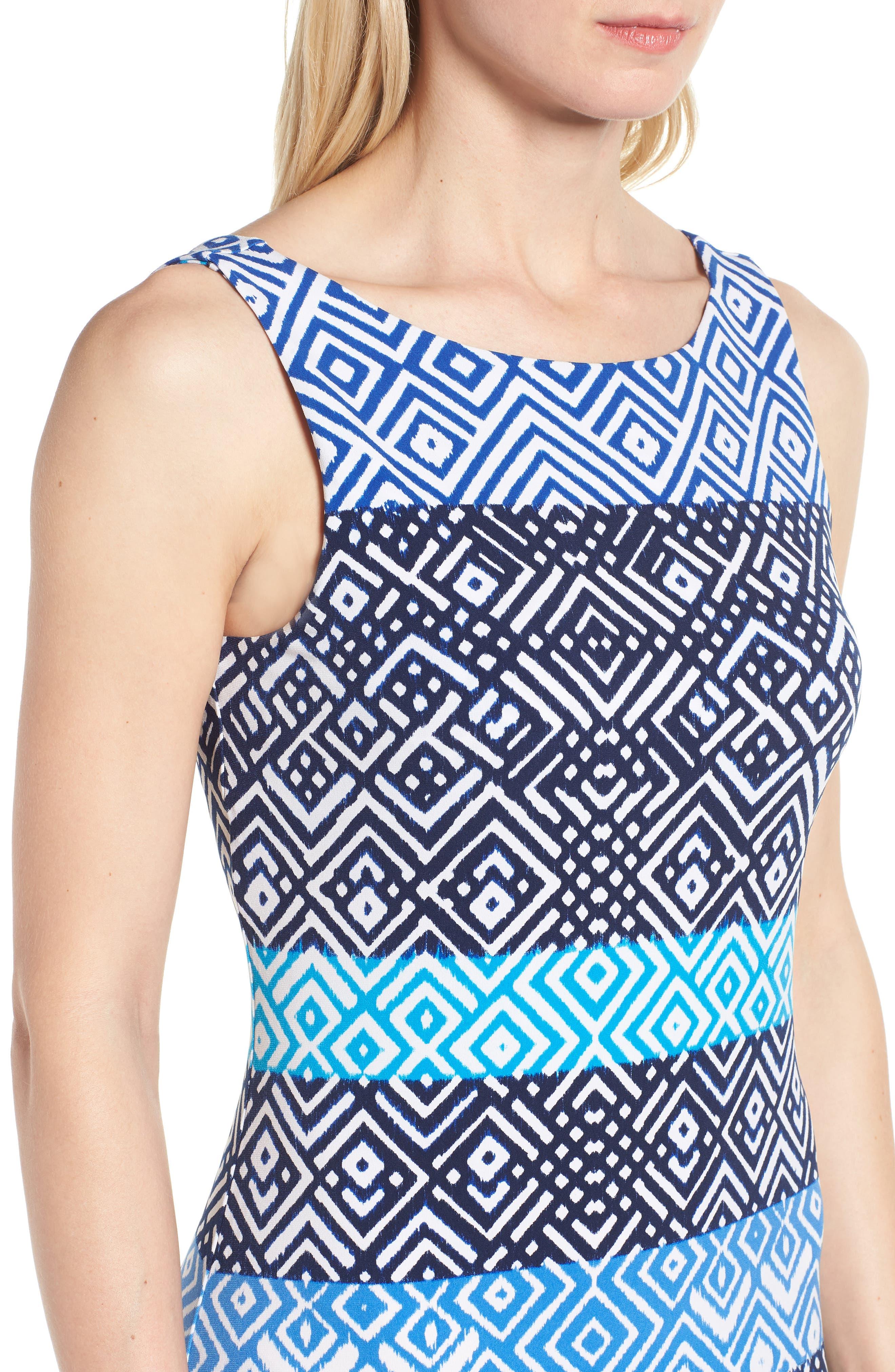 Mayan Maze Maxi Dress,                             Alternate thumbnail 4, color,                             Ocean Deep