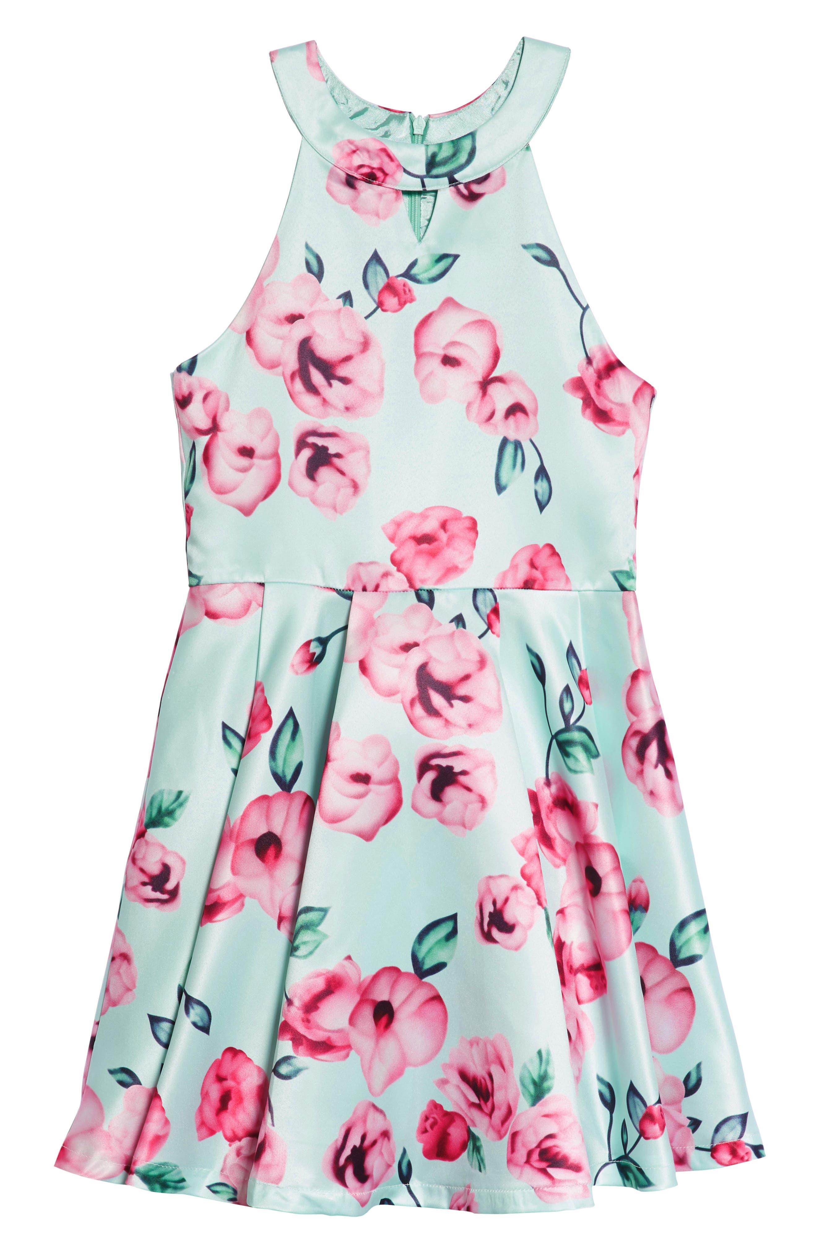 Elisa B Floral Fit & Flare Dress (Big Girls)