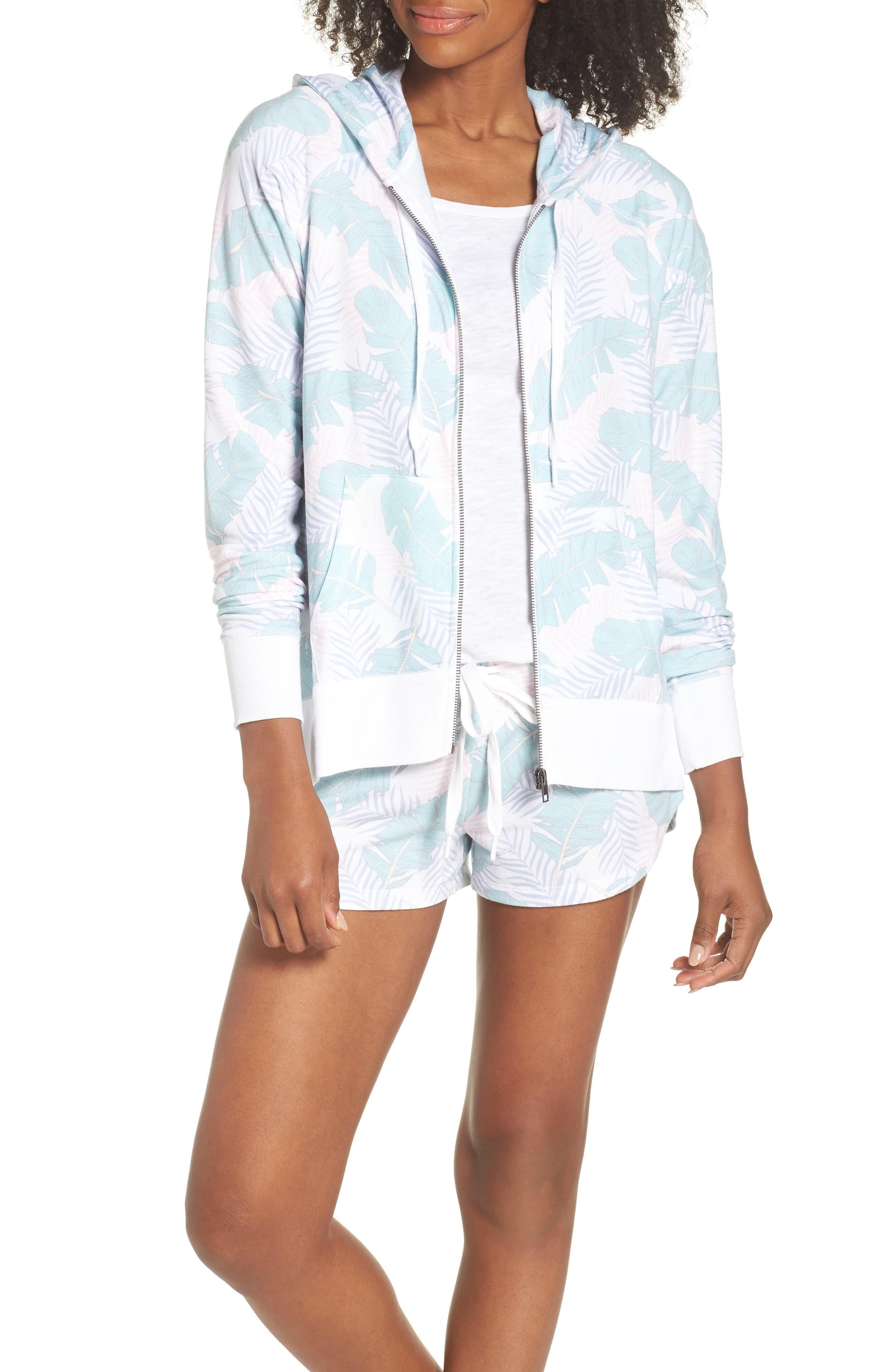 Leaf Print Zip Hoodie,                             Alternate thumbnail 5, color,                             White